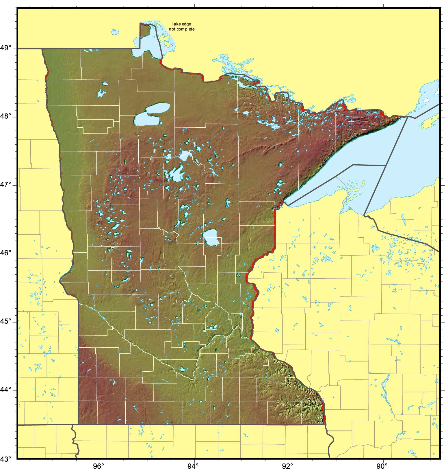 Minnesota Relief Map Mapsof Net