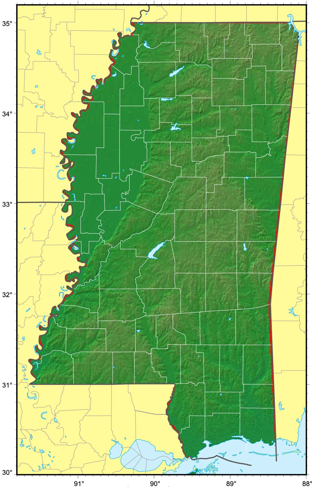 Mississippi Relief Map large map