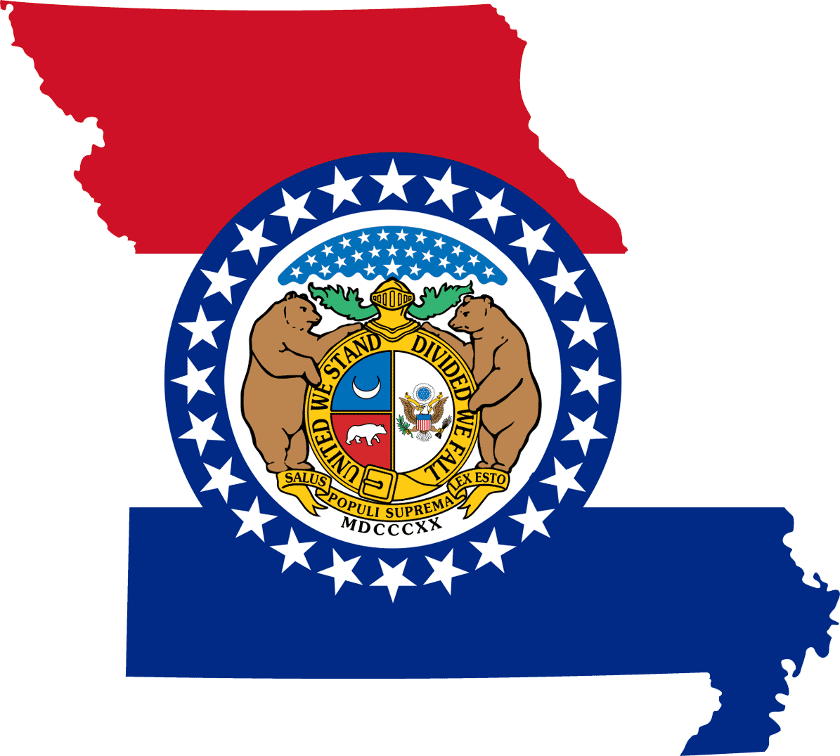 Missouri Flag Map large map