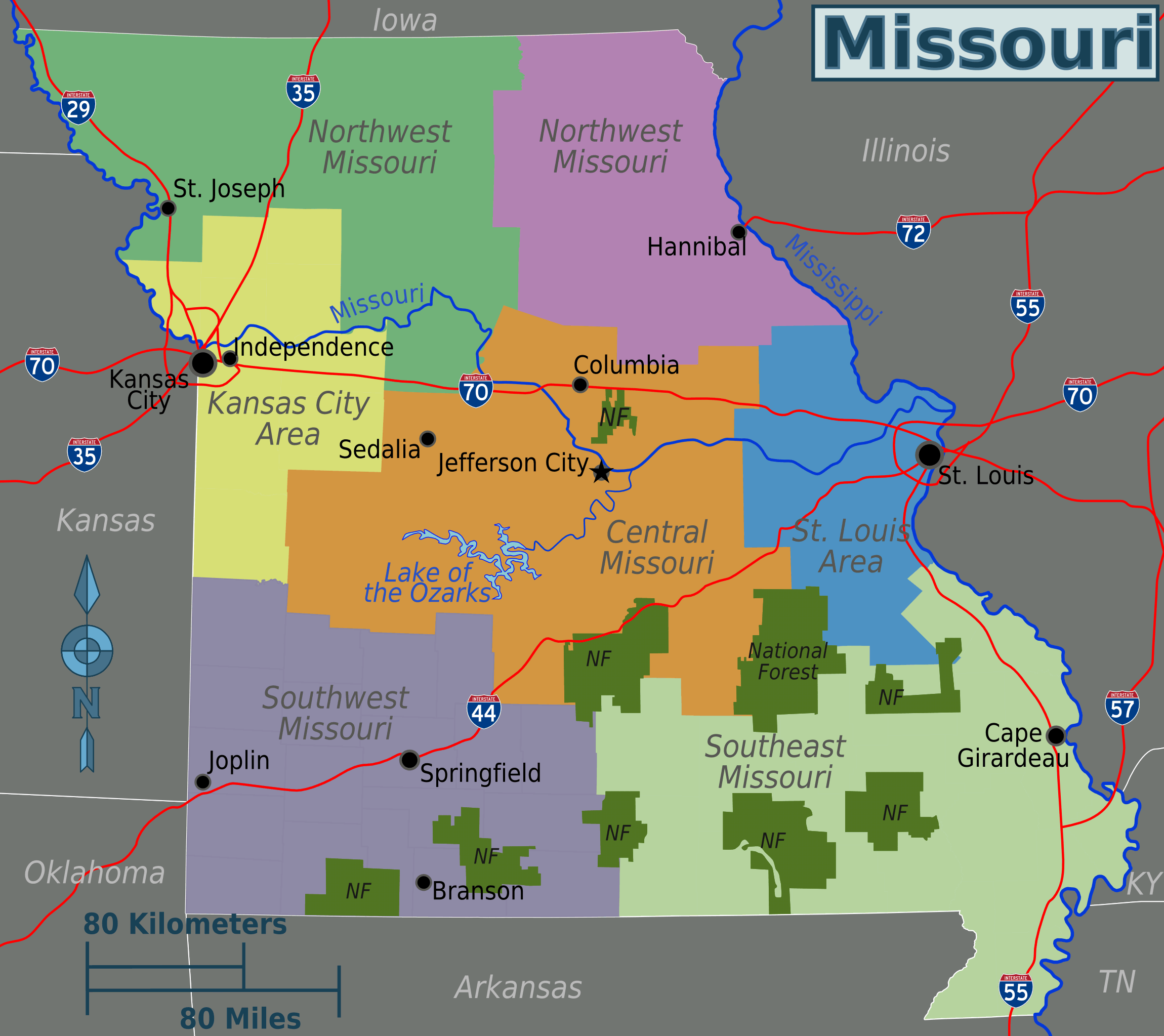 Missouri Regions Map large map