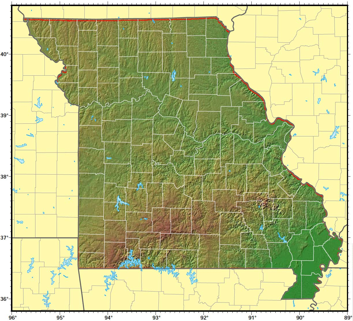 Missouri Relief Map large map