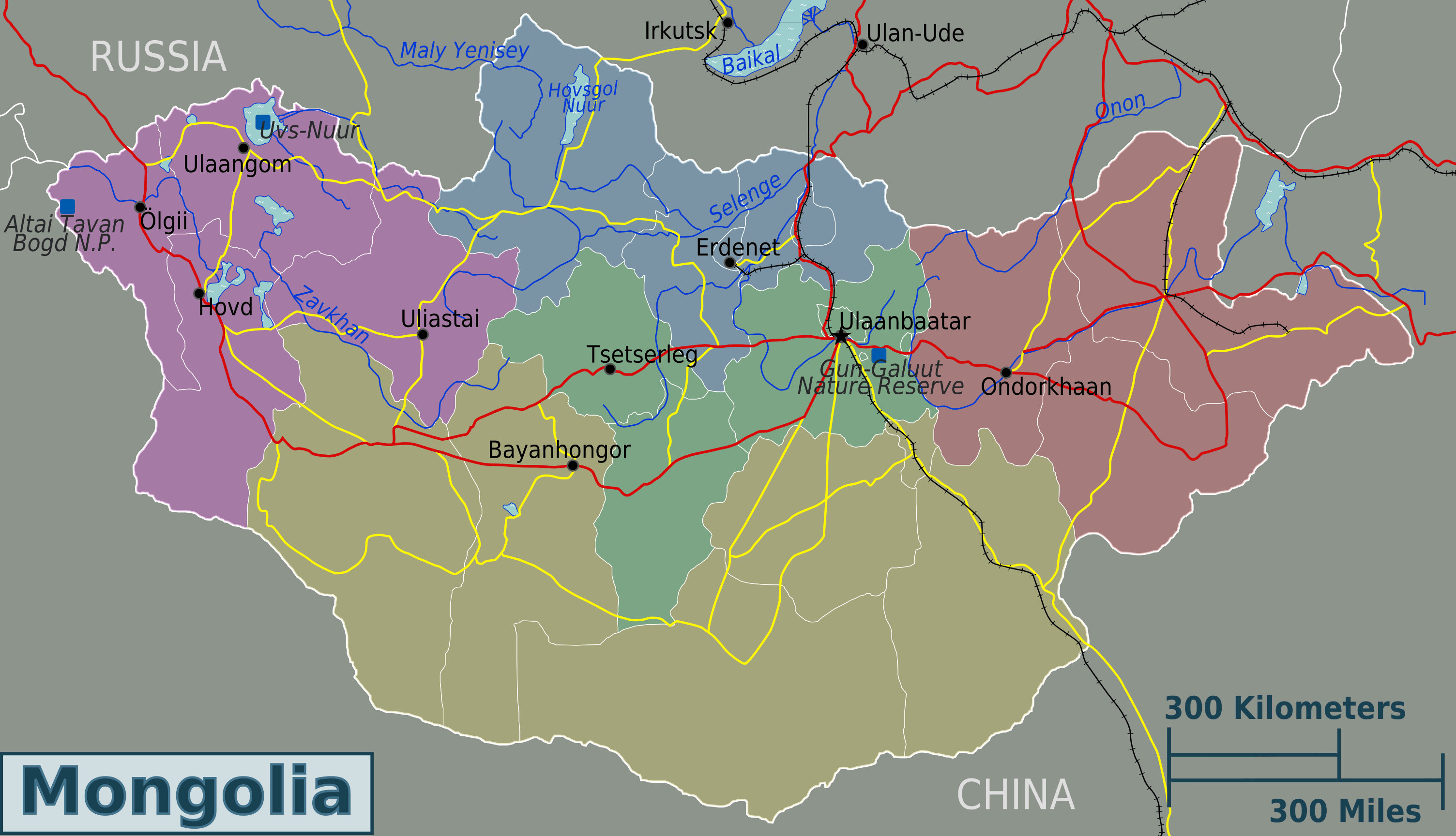 Mongolia Regions Map large map