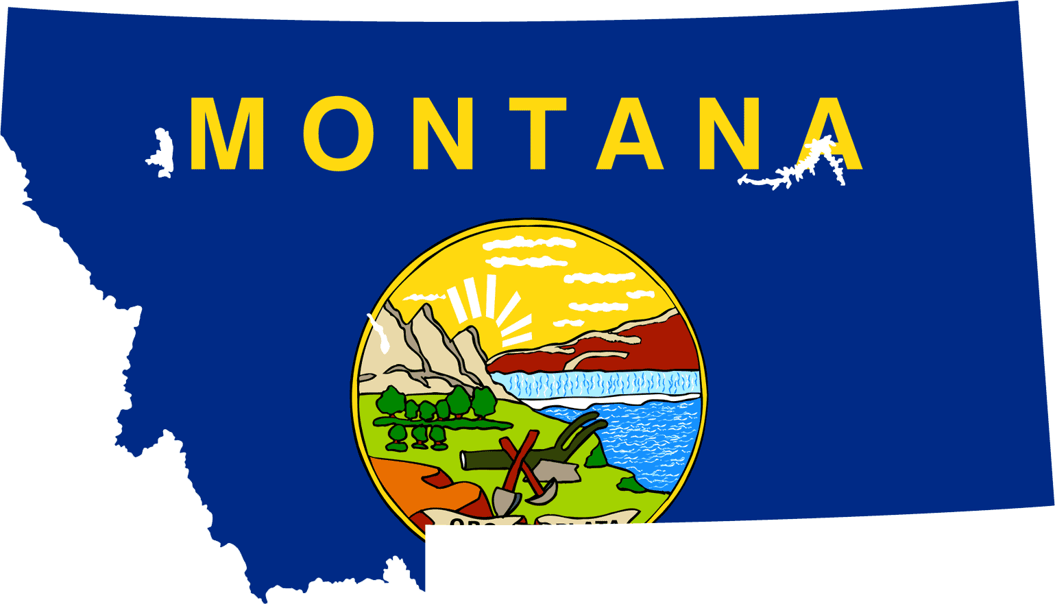 Montana Flag Map large map
