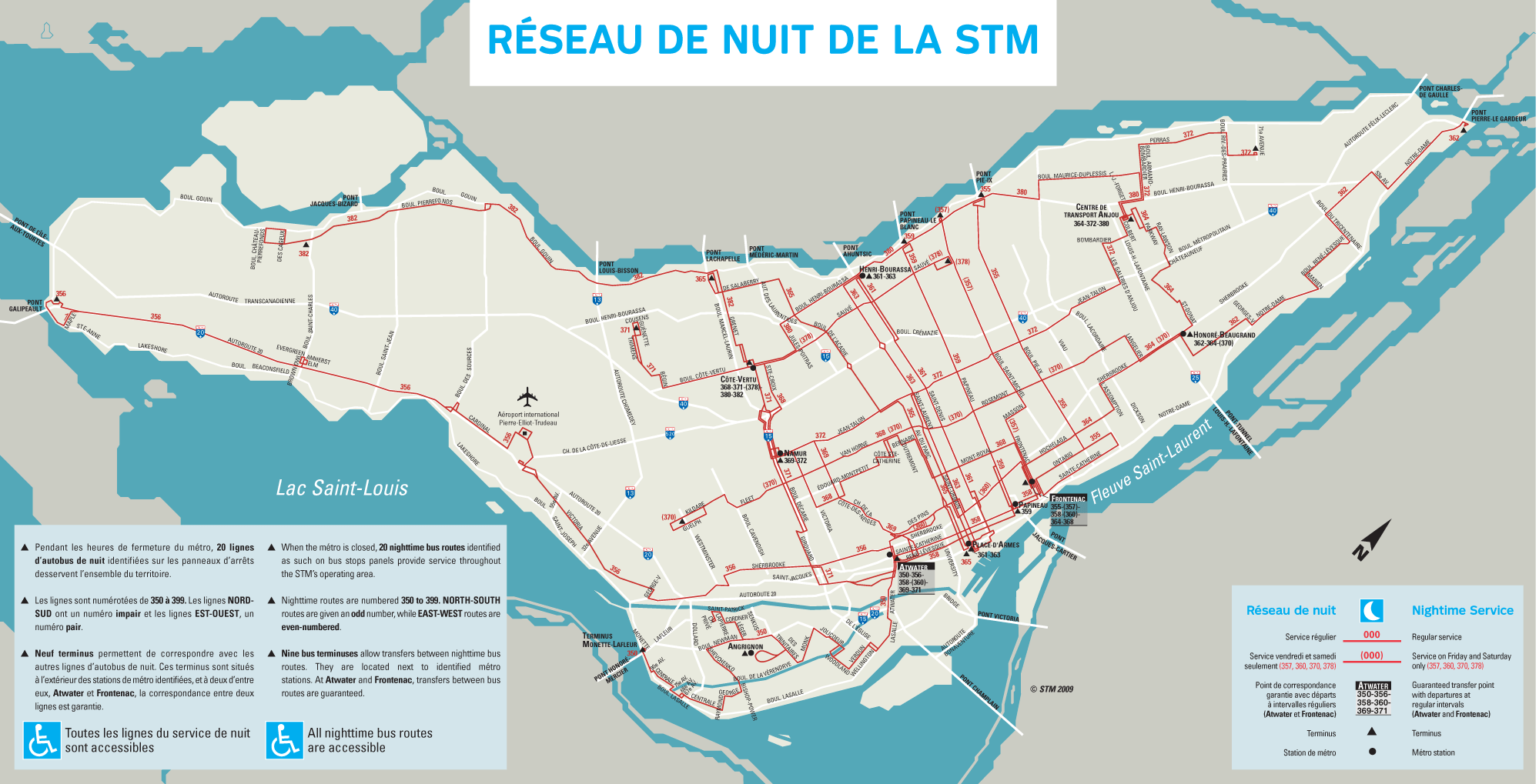 Montreal Night Bus Map - Mapsof.net