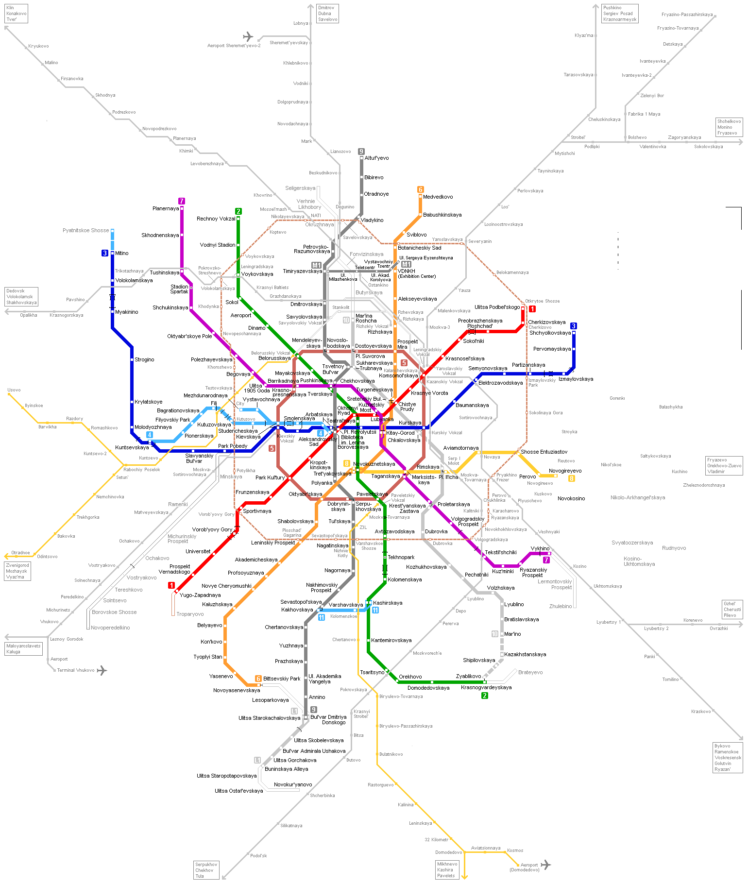 Moscow Metro Map large map