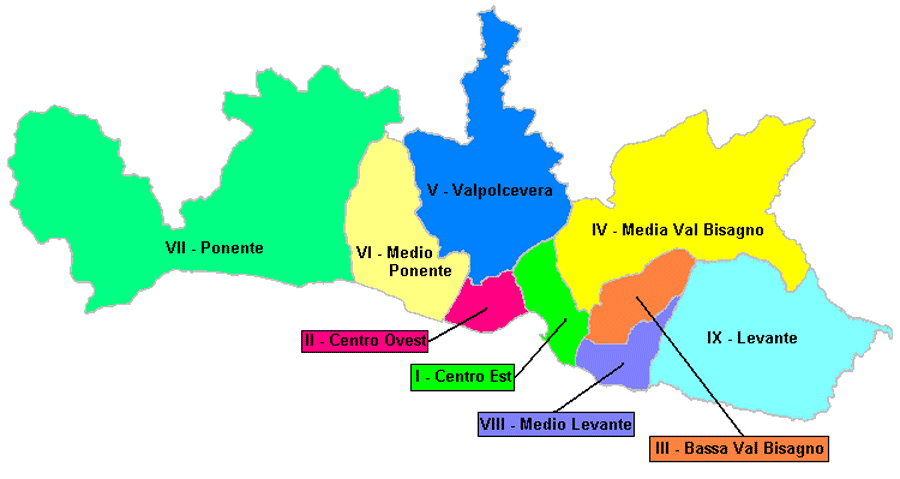 Municipalities of Genoa Map large map