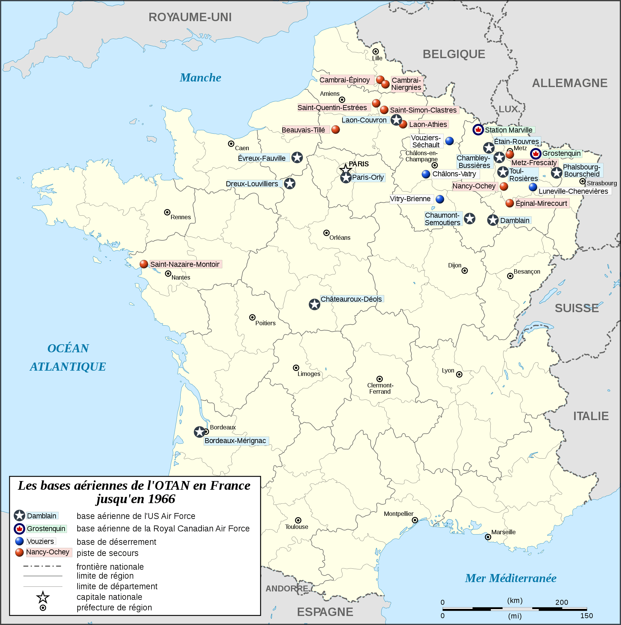 Nato Airbases In France Map Fr To 1966 large map