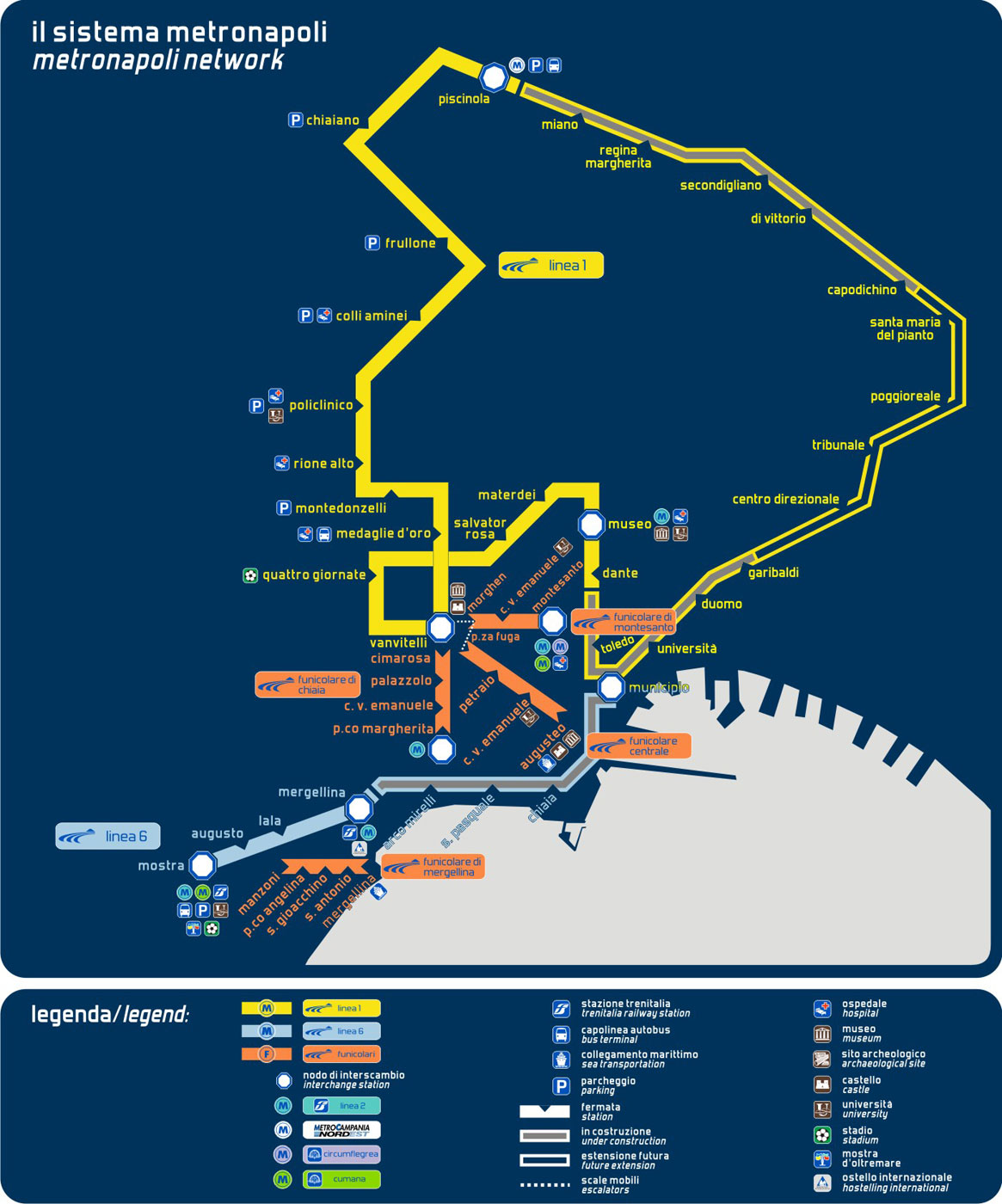 Naples Metro Map (napoli) large map