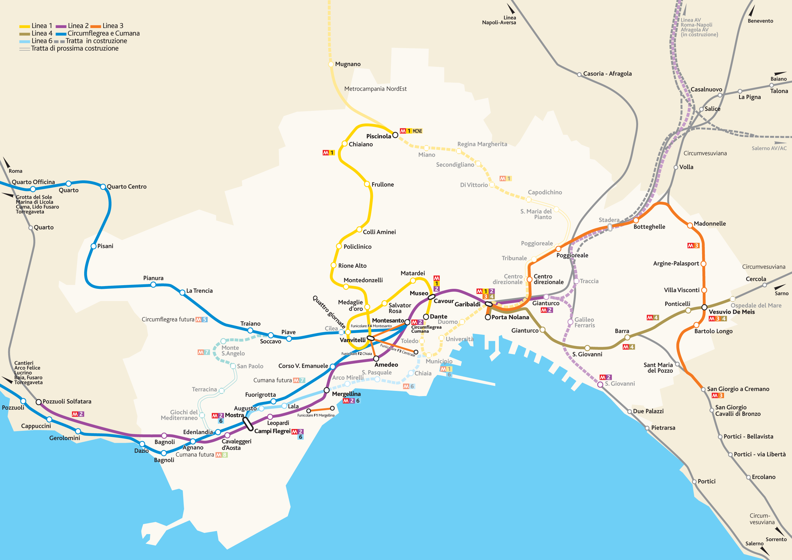 Naples Metro System Map (napoli) large map