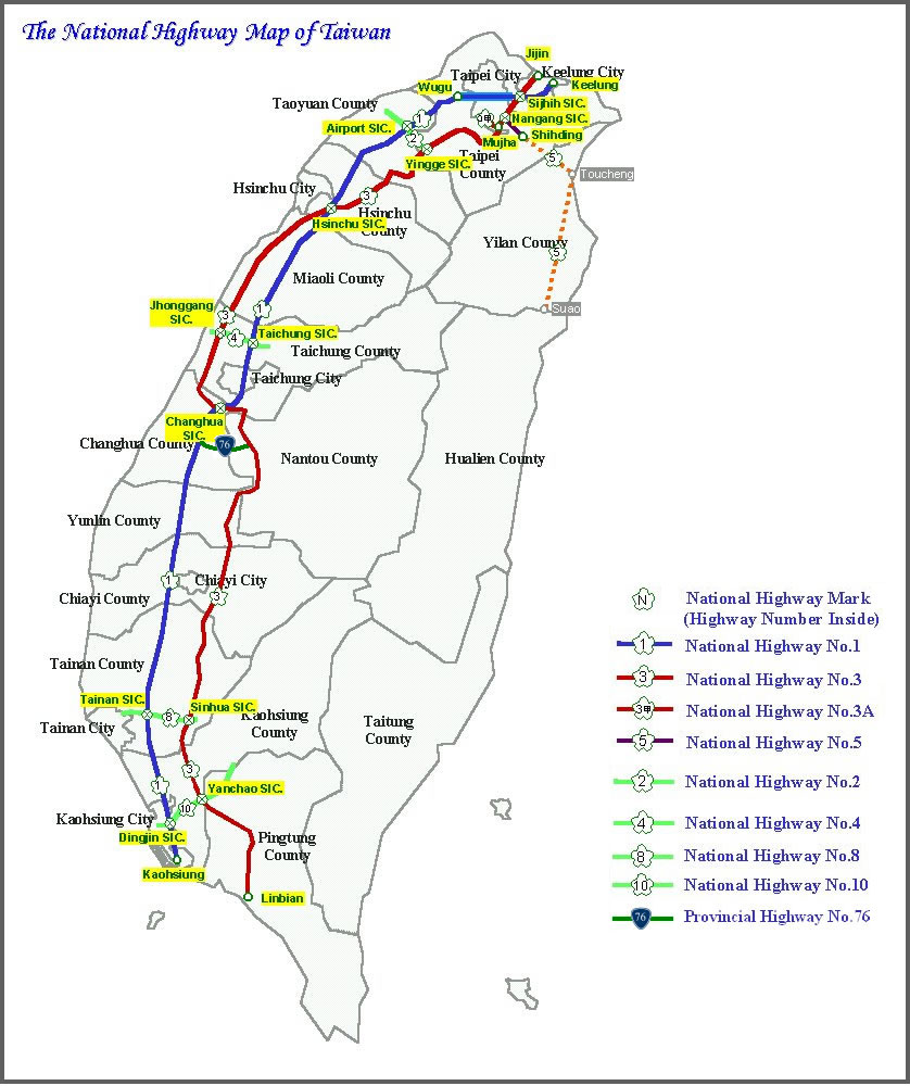 National Highway of Taiwan large map