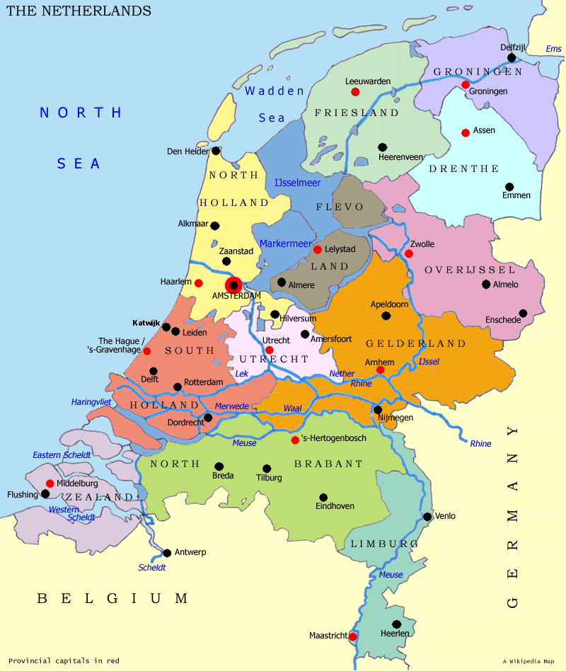 Netherlands Map Divisions large map