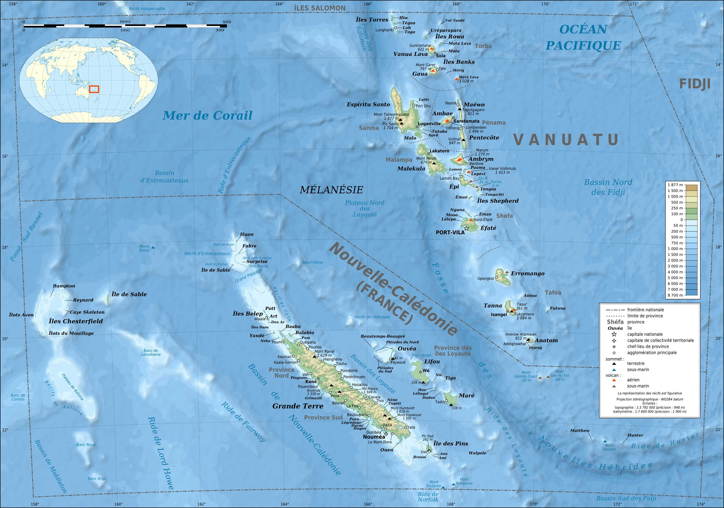 New Caledonia And Vanuatu Bathymetric And Topographic Map Fr large map