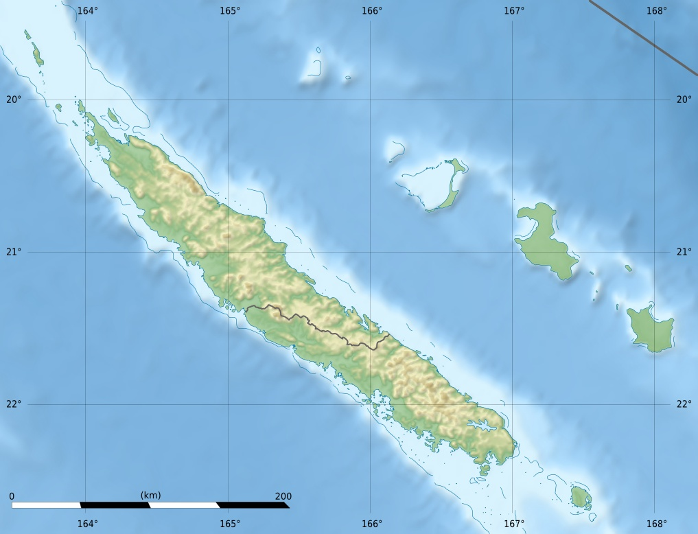 New Caledonie Relief Map large map