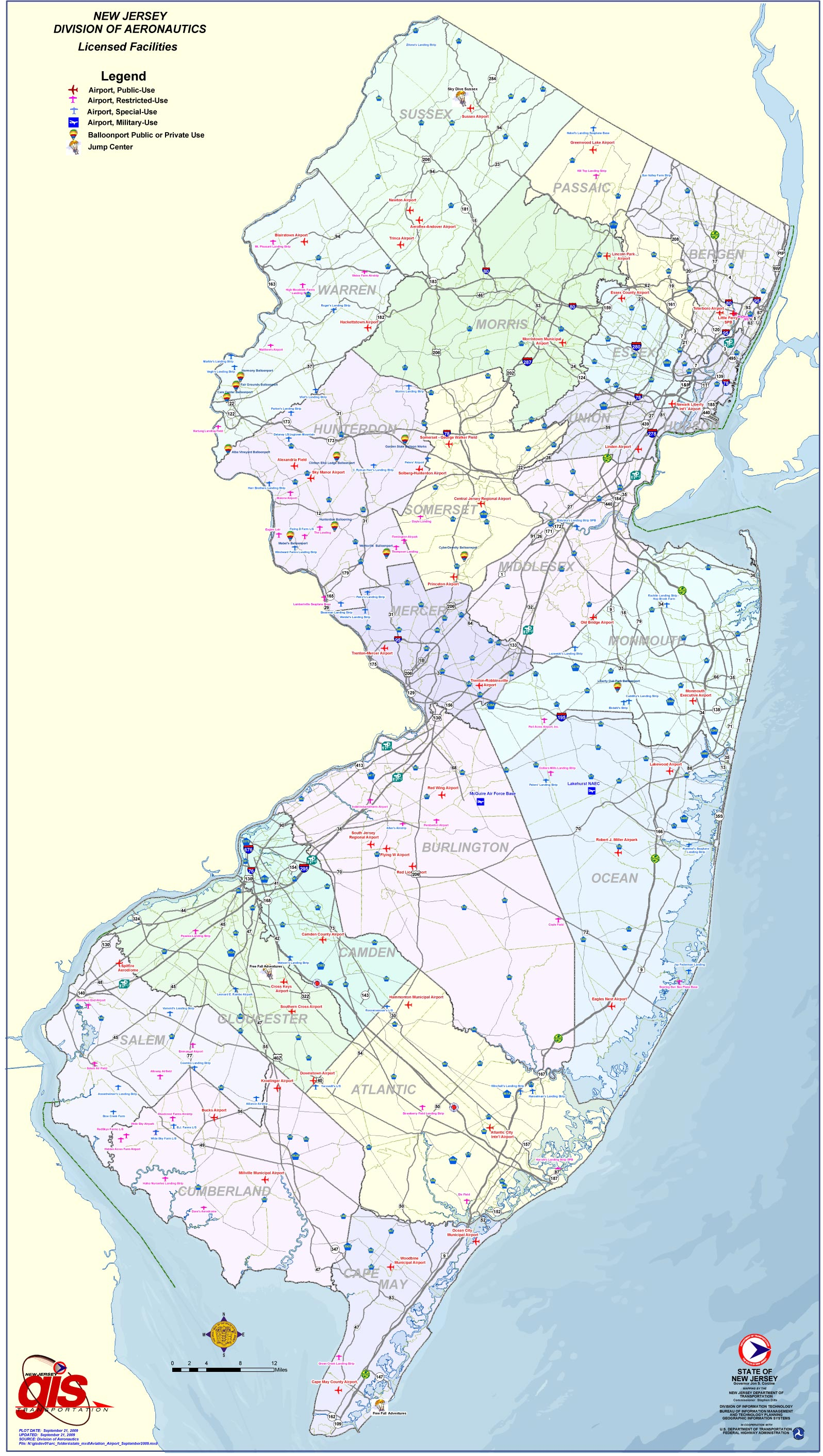 New Jersey Airports Map • Mapsof.net