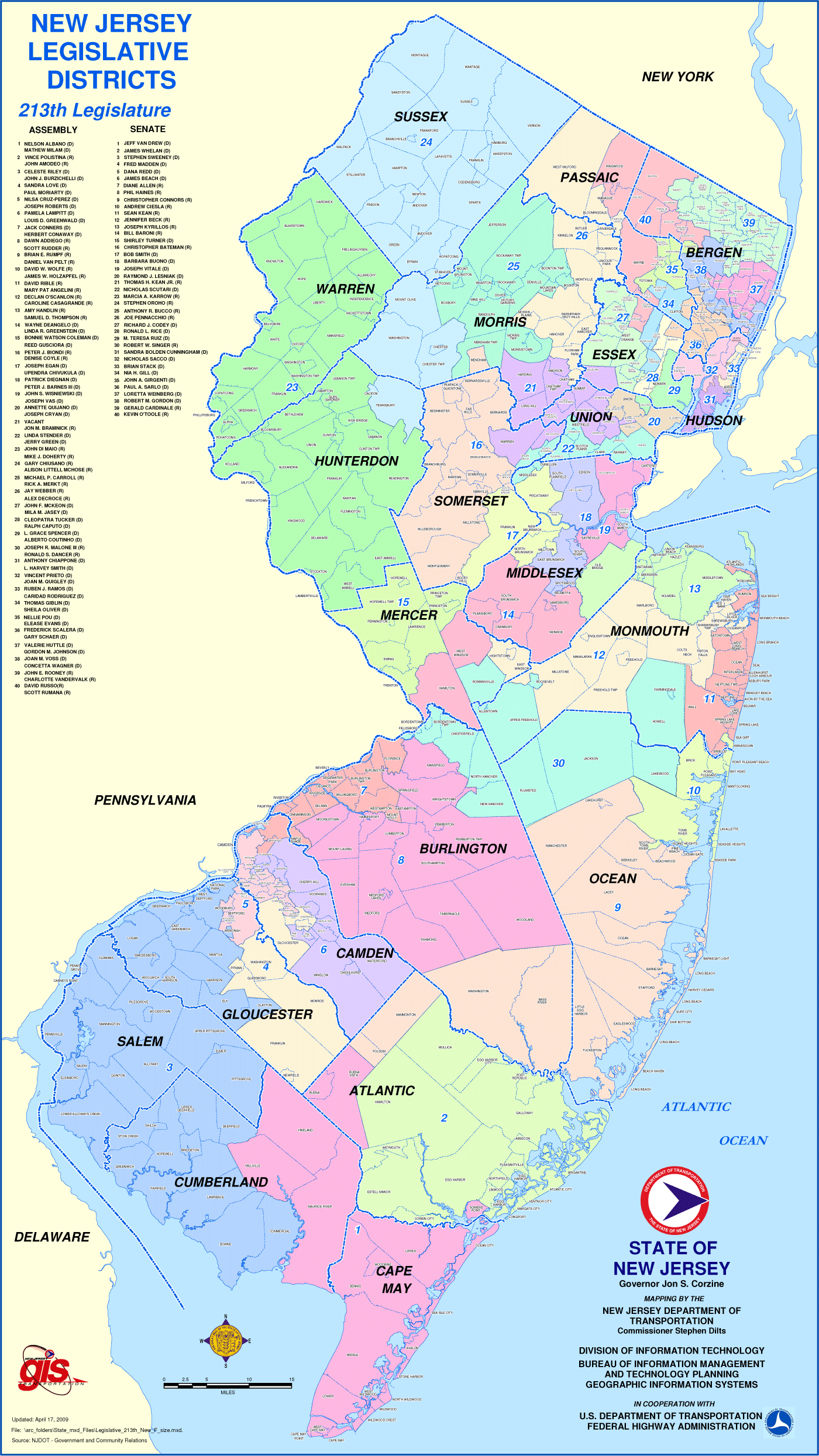 New Jersey Districts Map large map