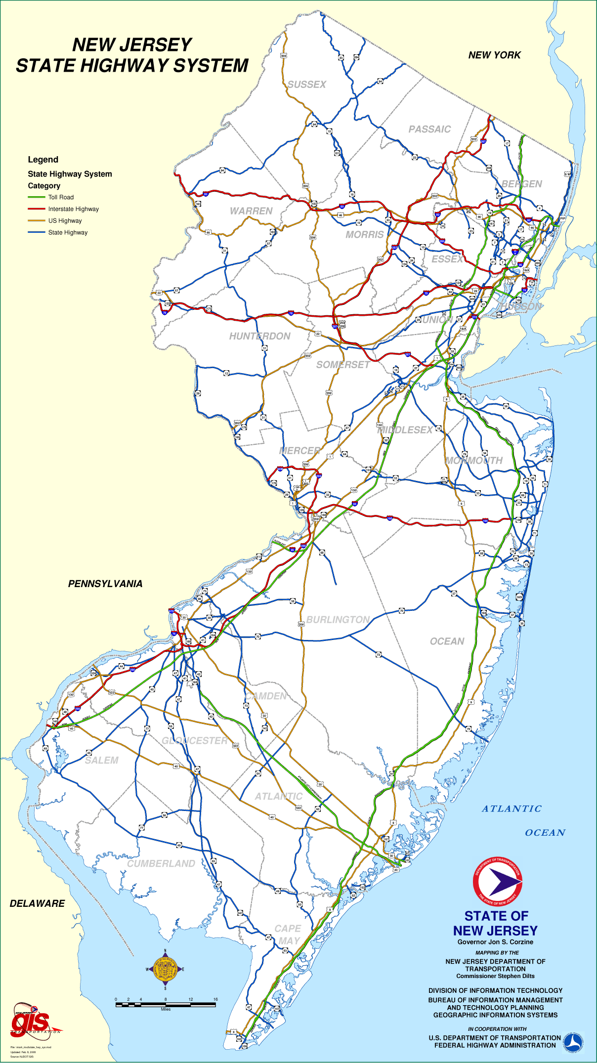 New Jersey Highway Map Mapsofnet - Nj road map