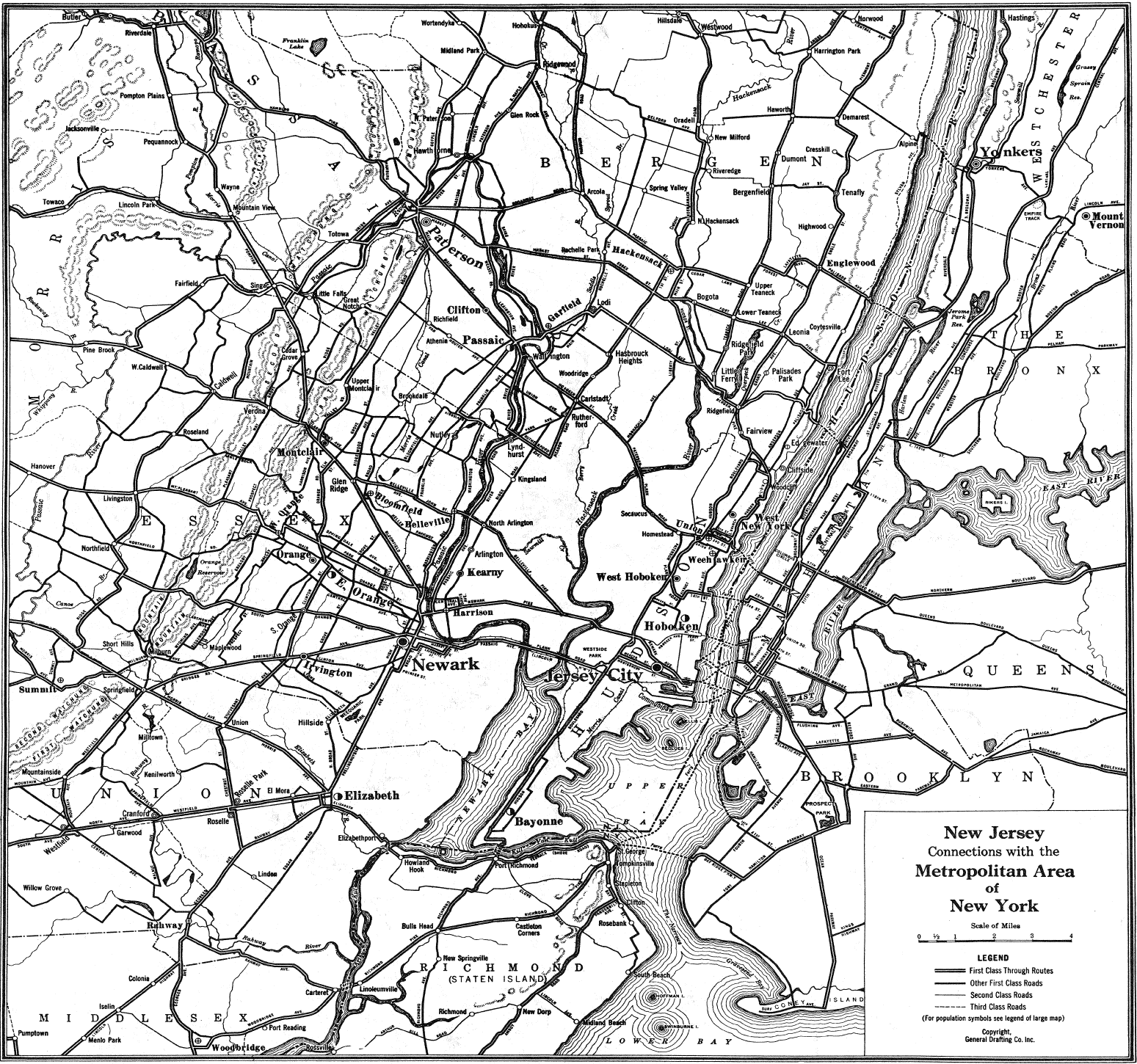 New Jersey Highway Old Map large map