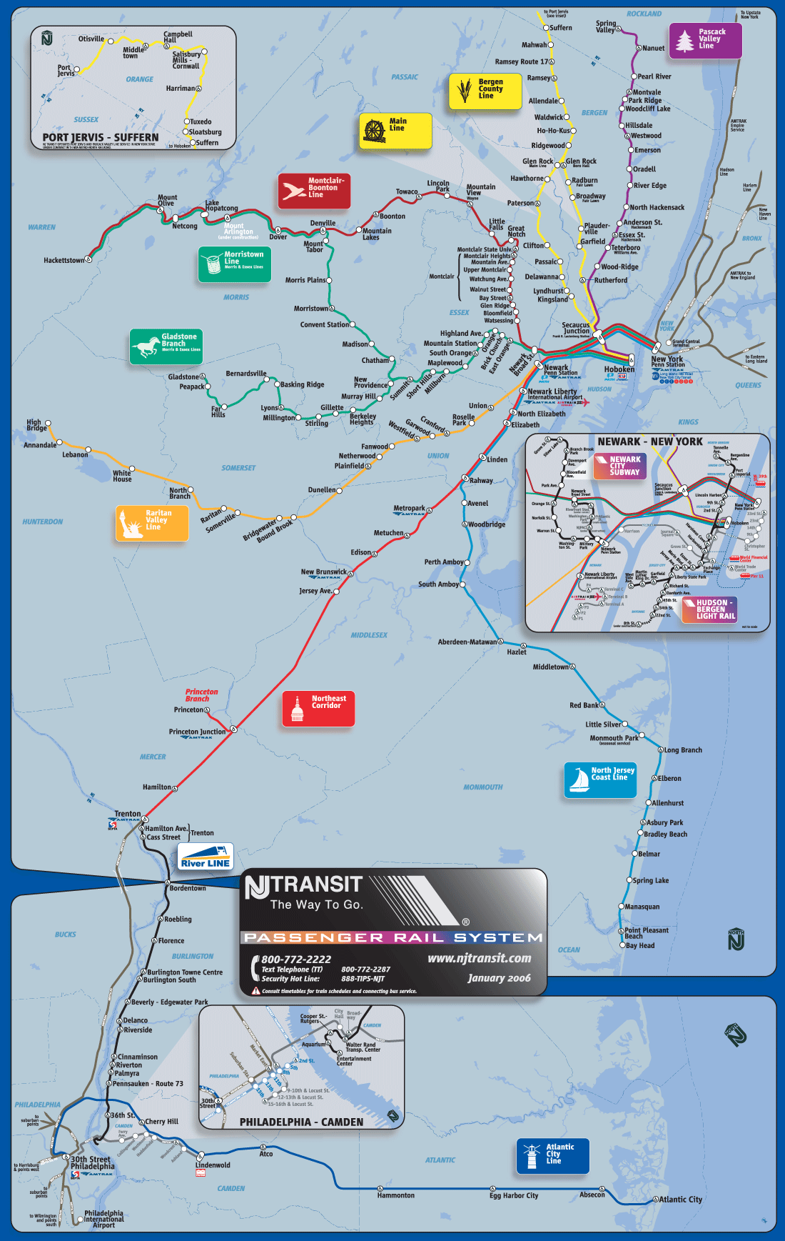 New Jersey Metro System Map (subway) large map