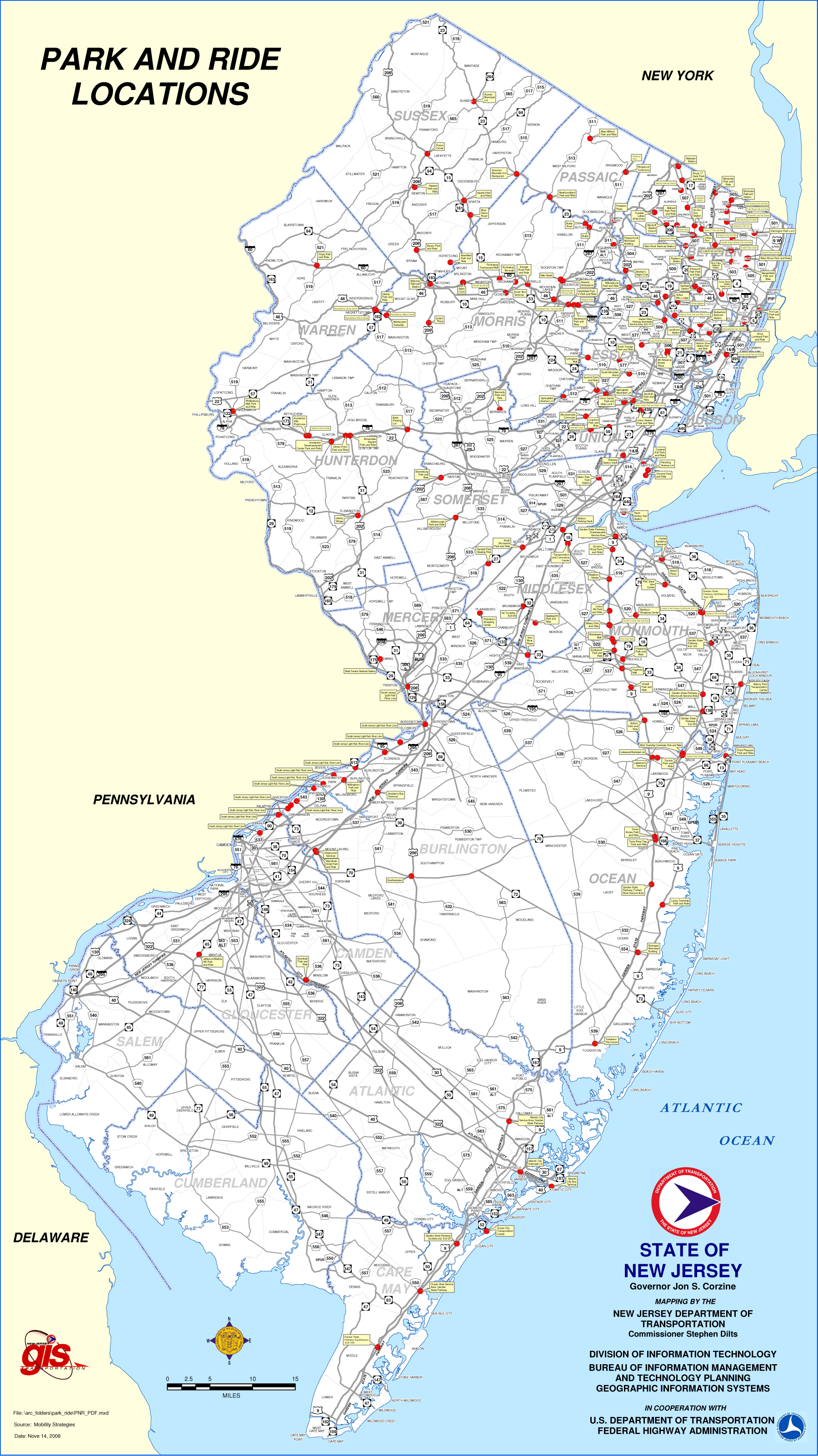 New Jersey Parking Map large map