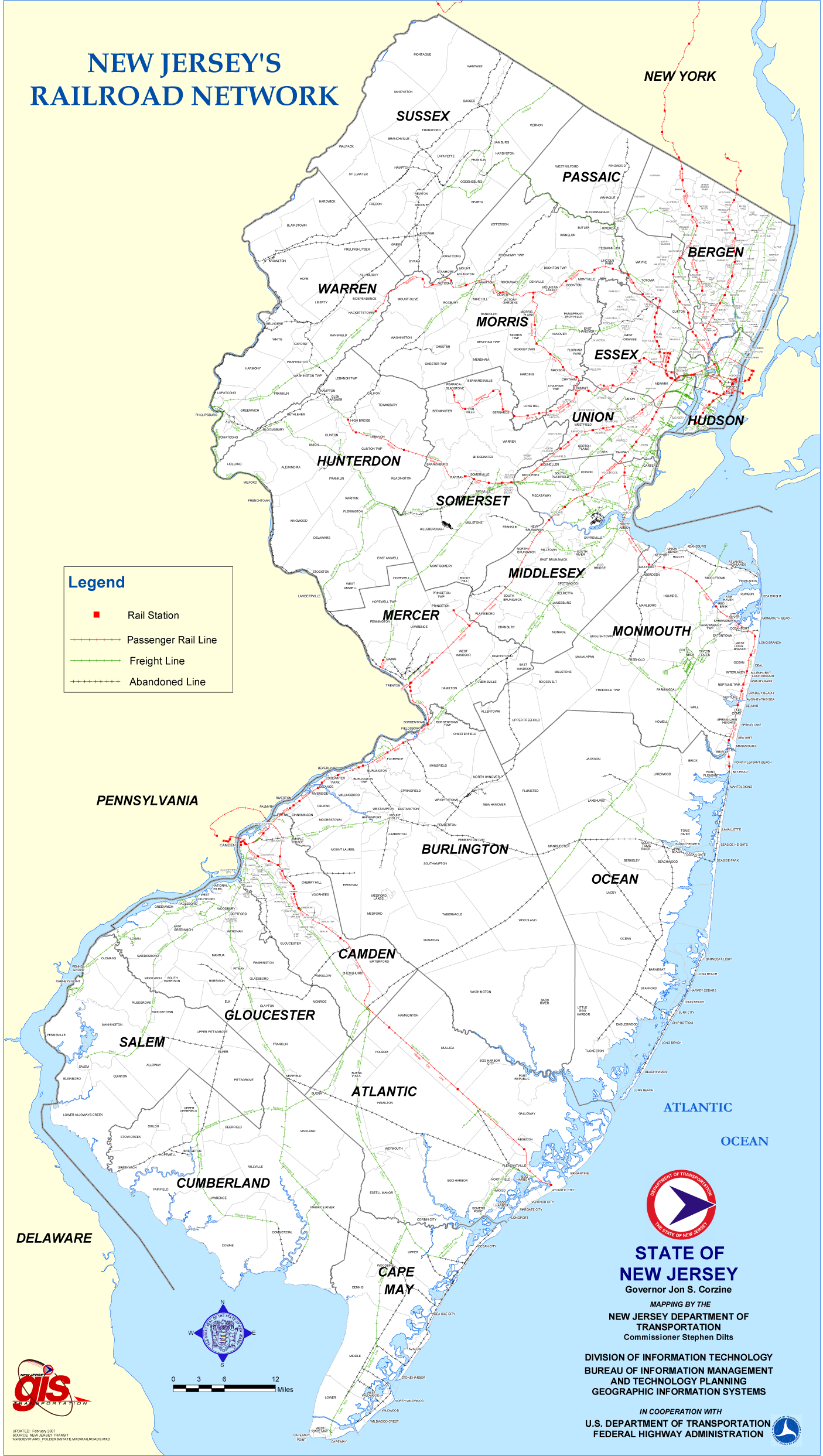 New Jersey Rail Road Map large map