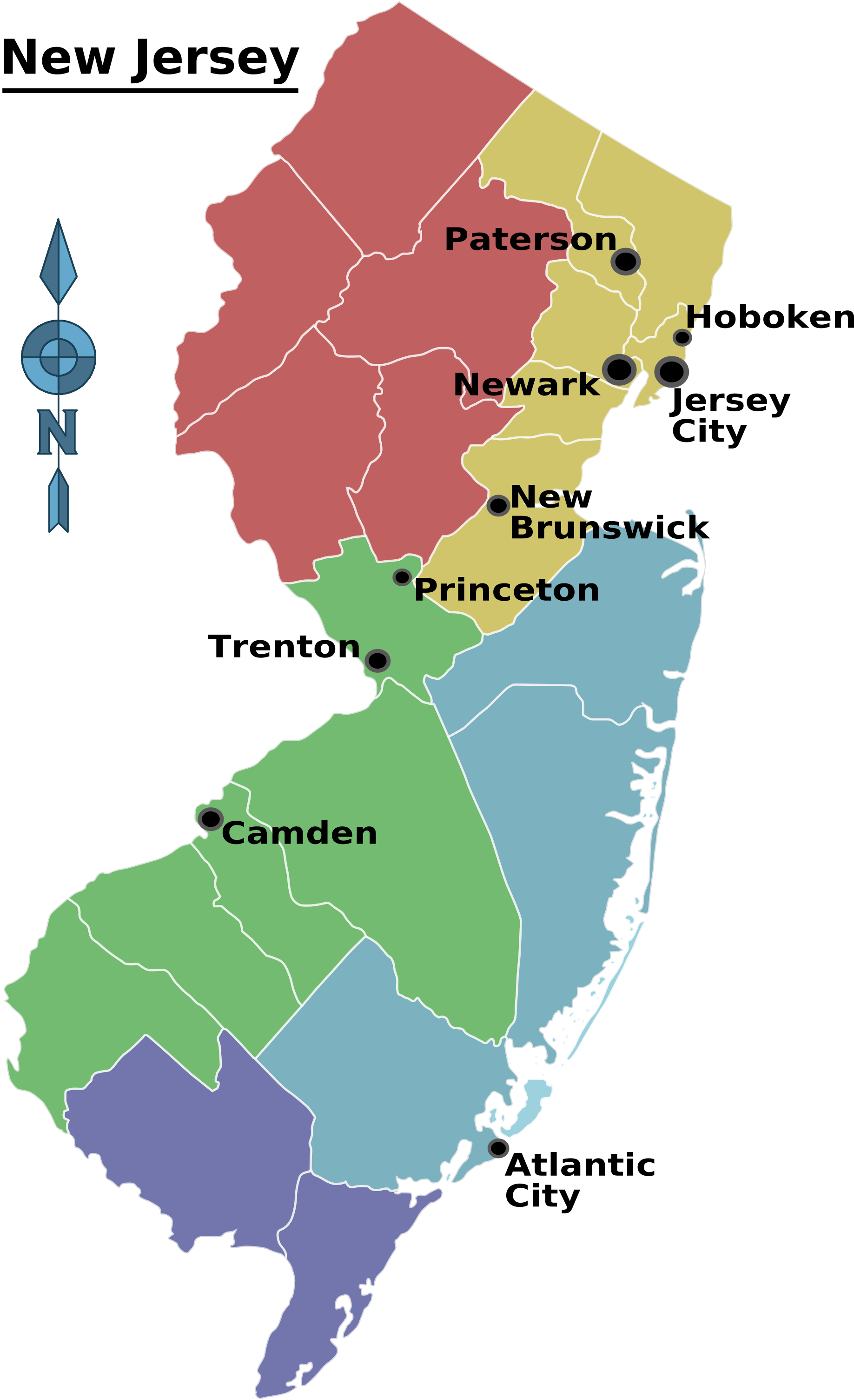 New Jersey Regions Map large map