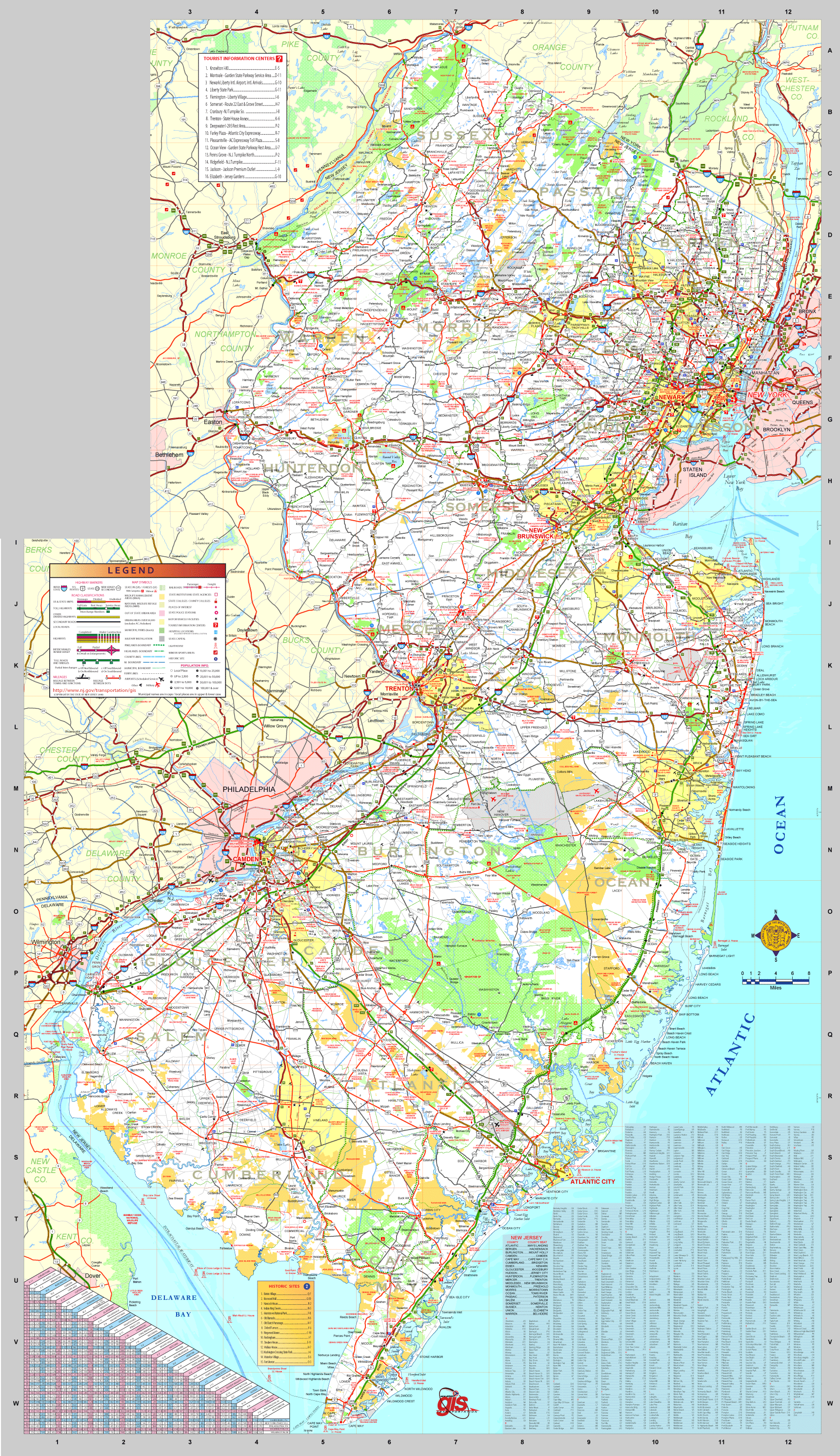 New Jersey Transport Map large map