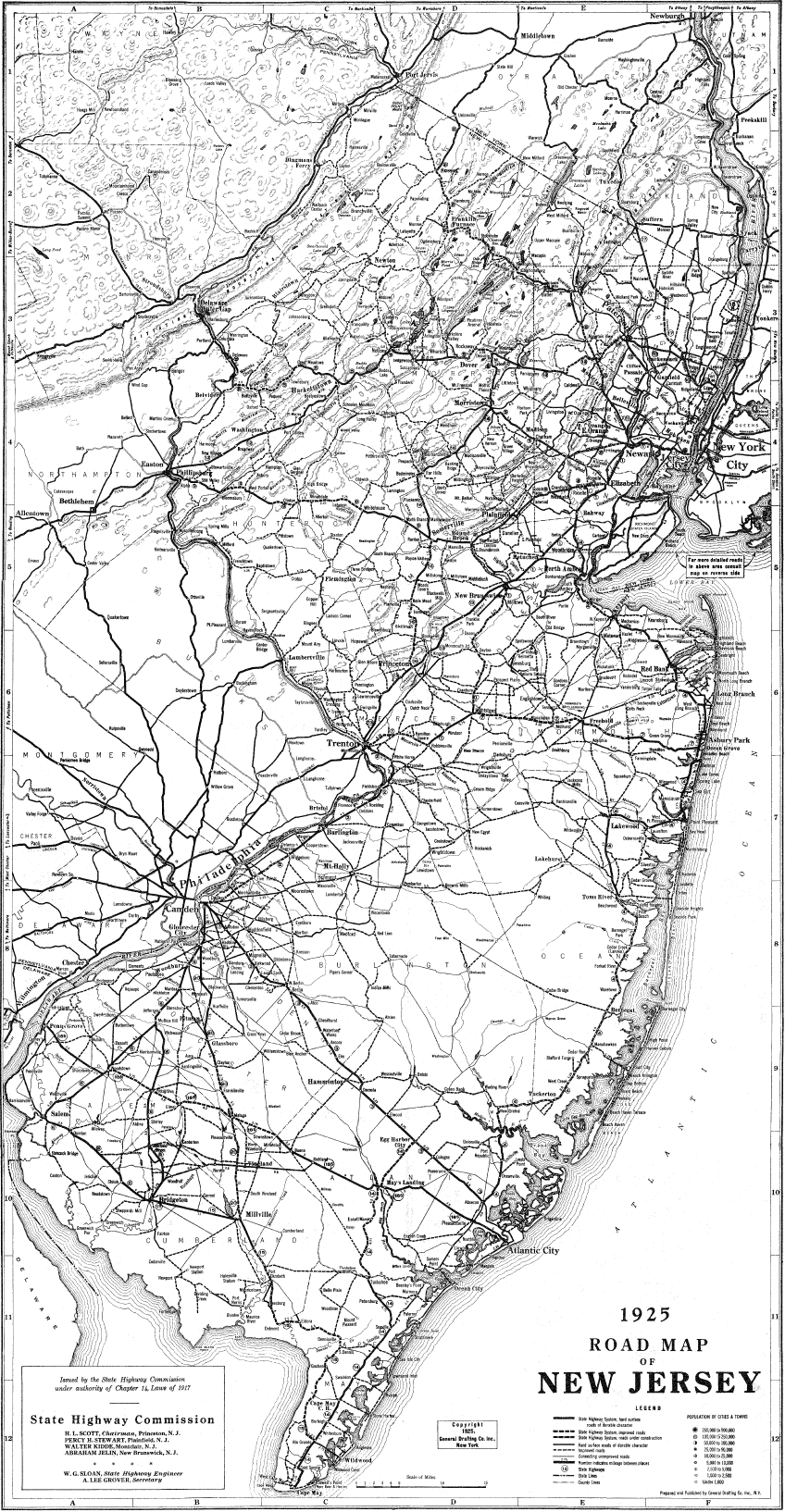 New Jersey Transport Old Map (1925) large map