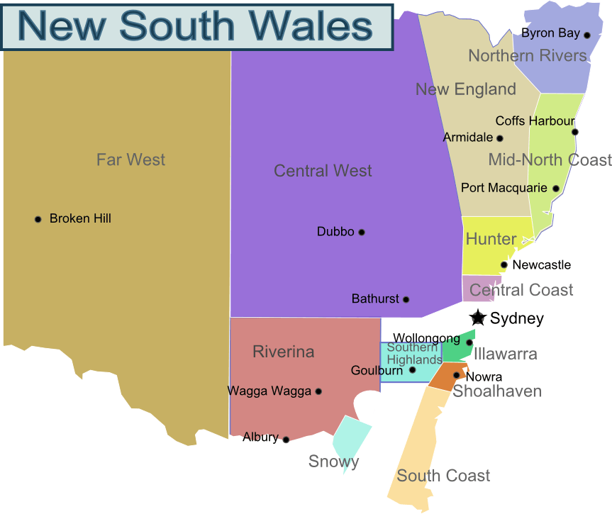 New South Wales Region Map large map