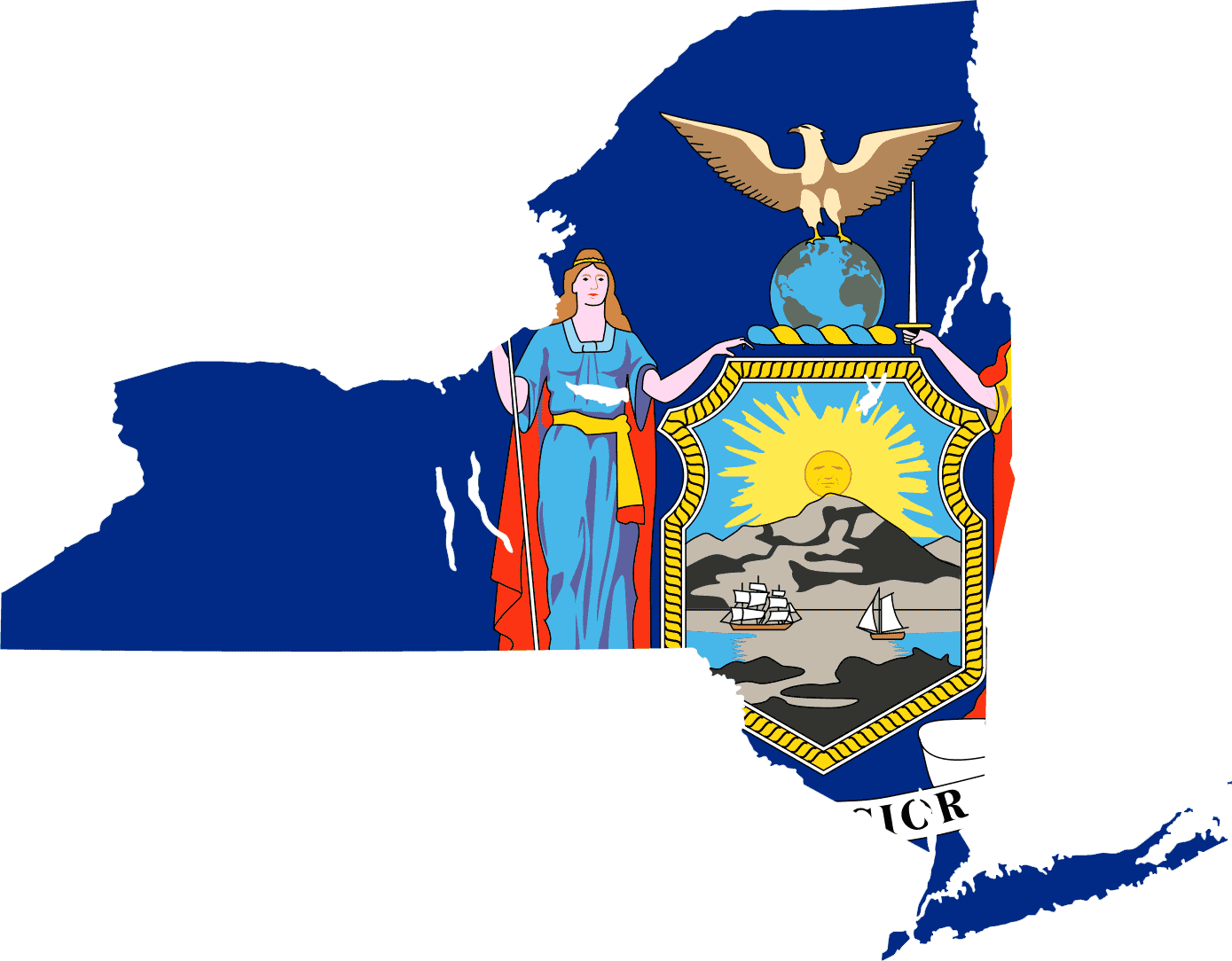 New York Flag Map large map