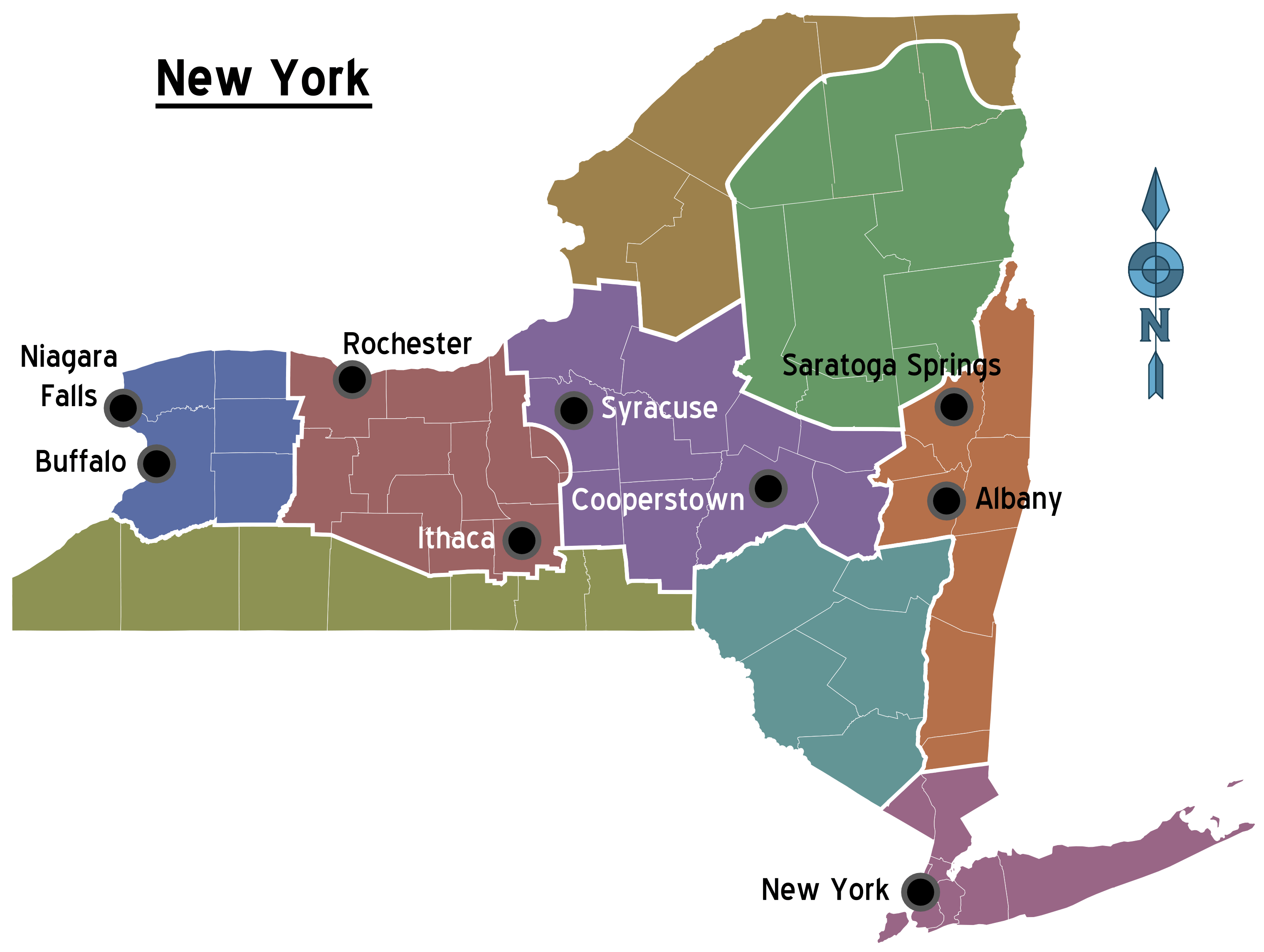 New York Regions Map  Mapsofnet - New york map mountains