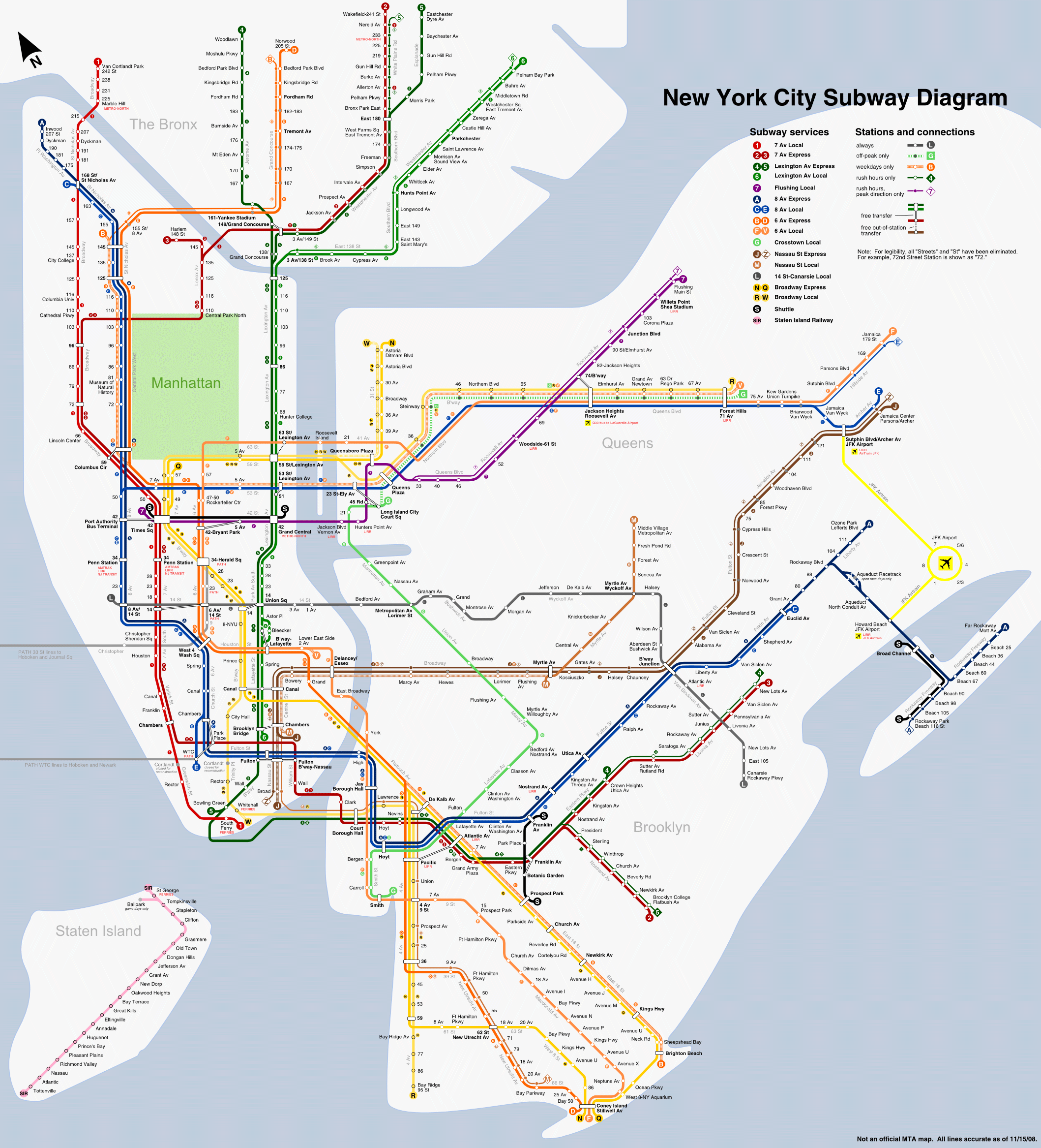 New York Subway Map (metro) large map