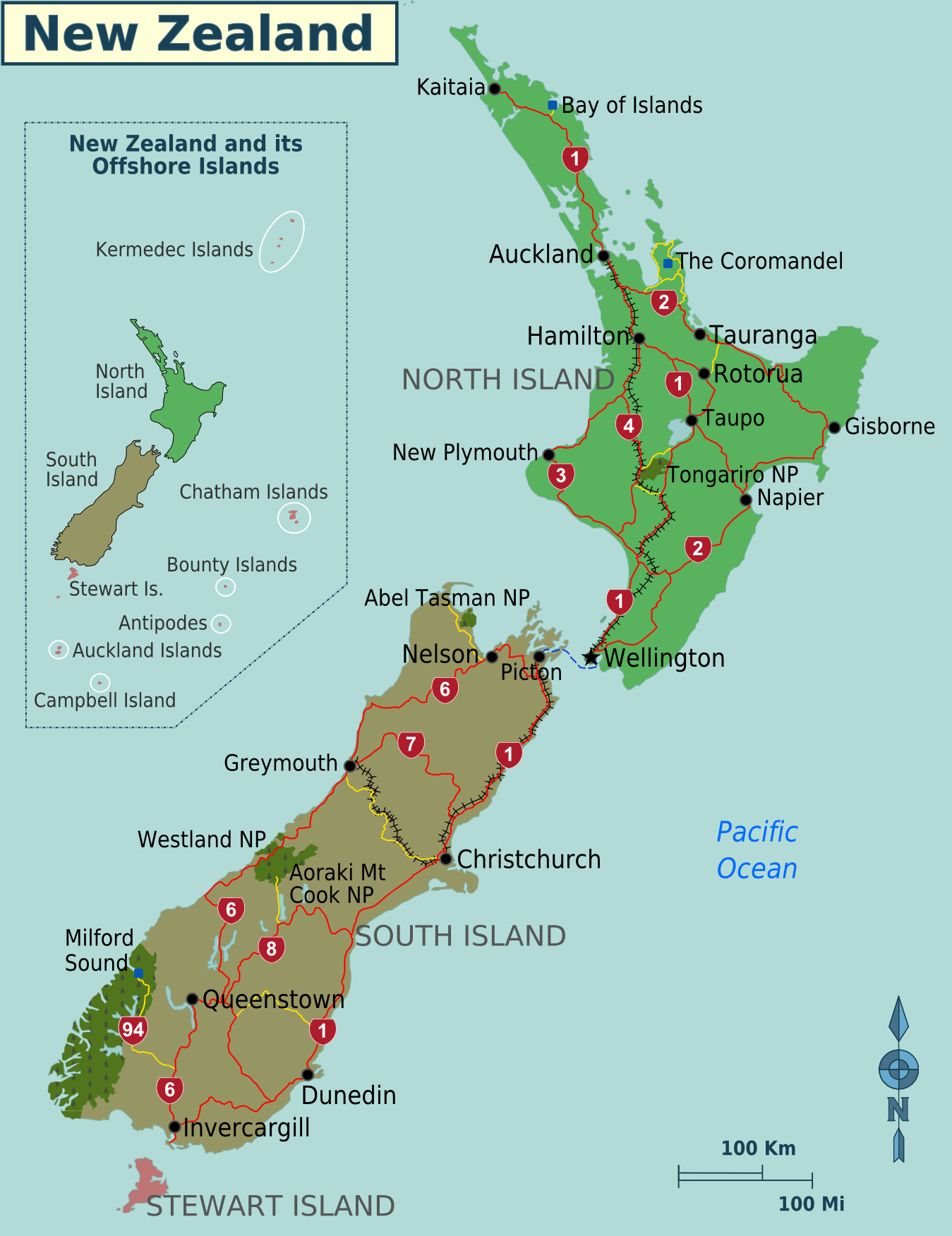 New Zealand Regions Map Mapsofnet