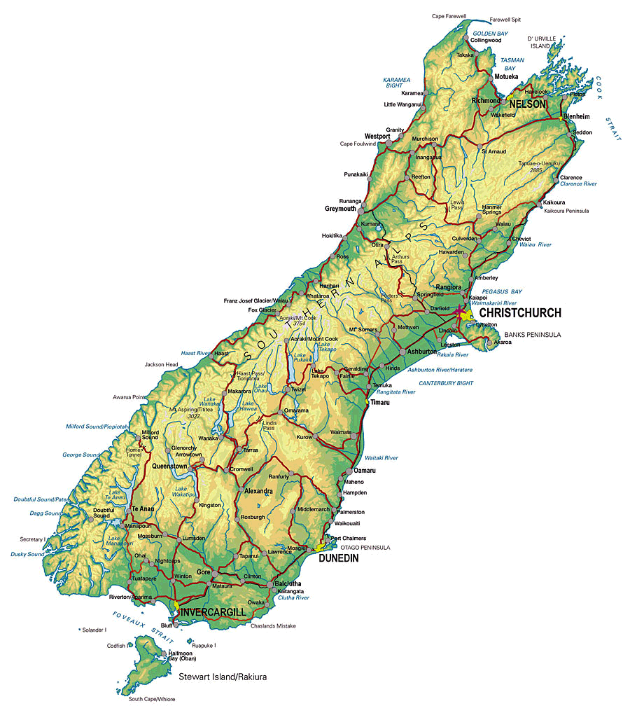 New Zealand South Island Physical Mapsofnet - New zealand map png