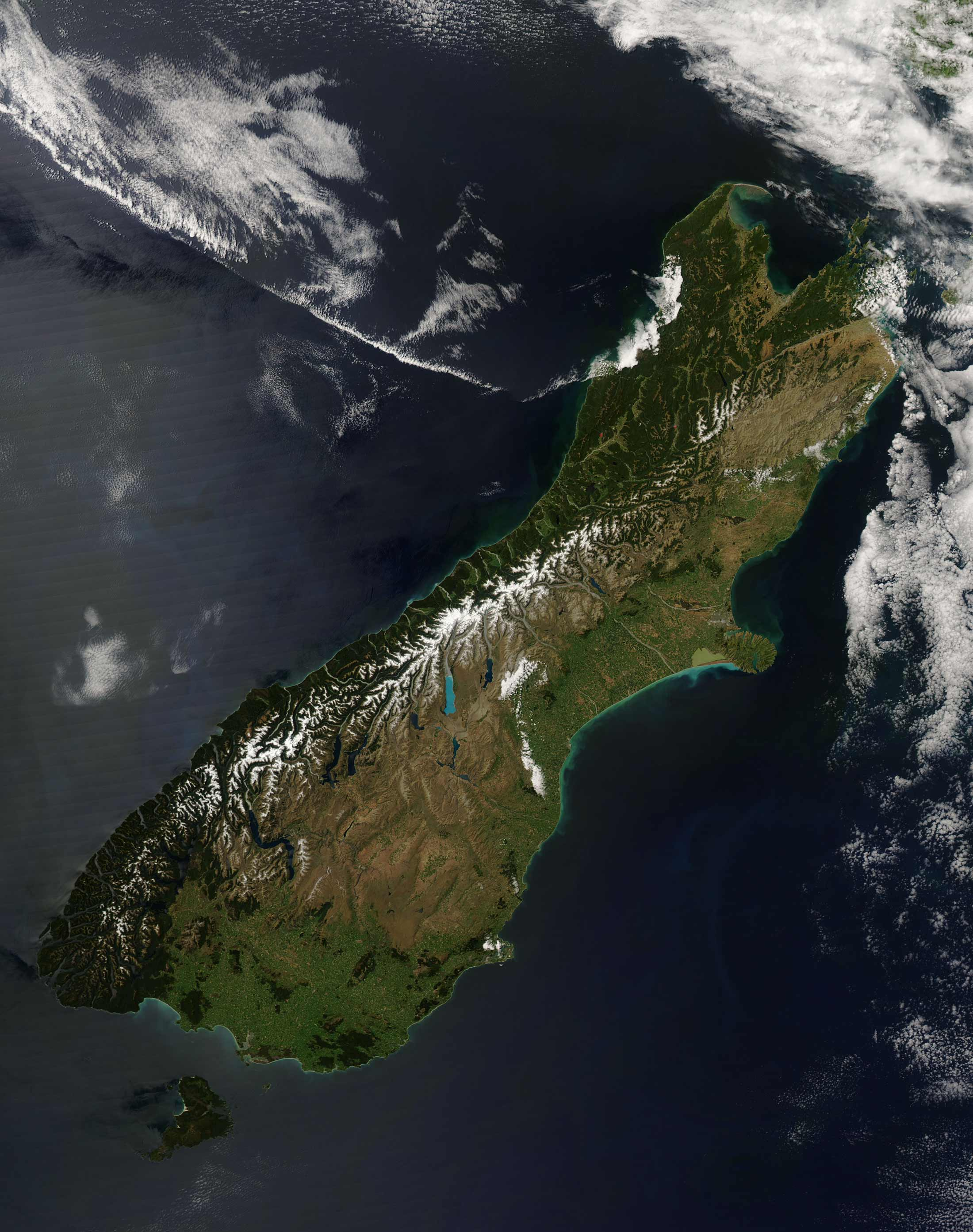 New Zealand South Island Satellite Image large map