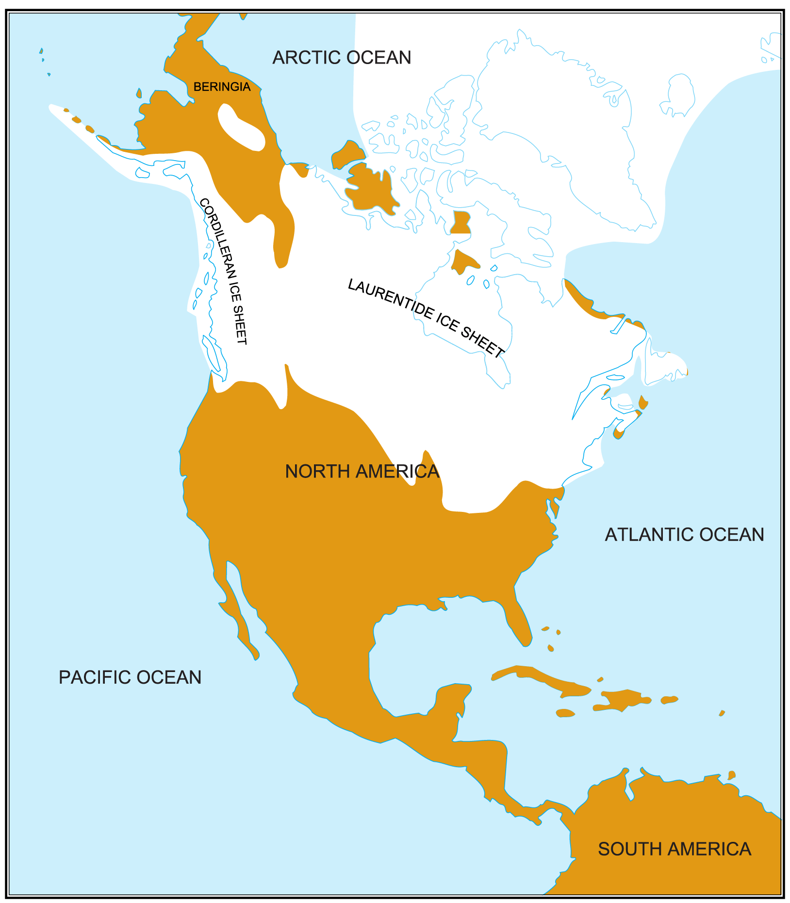 North America Glaciation Map large map