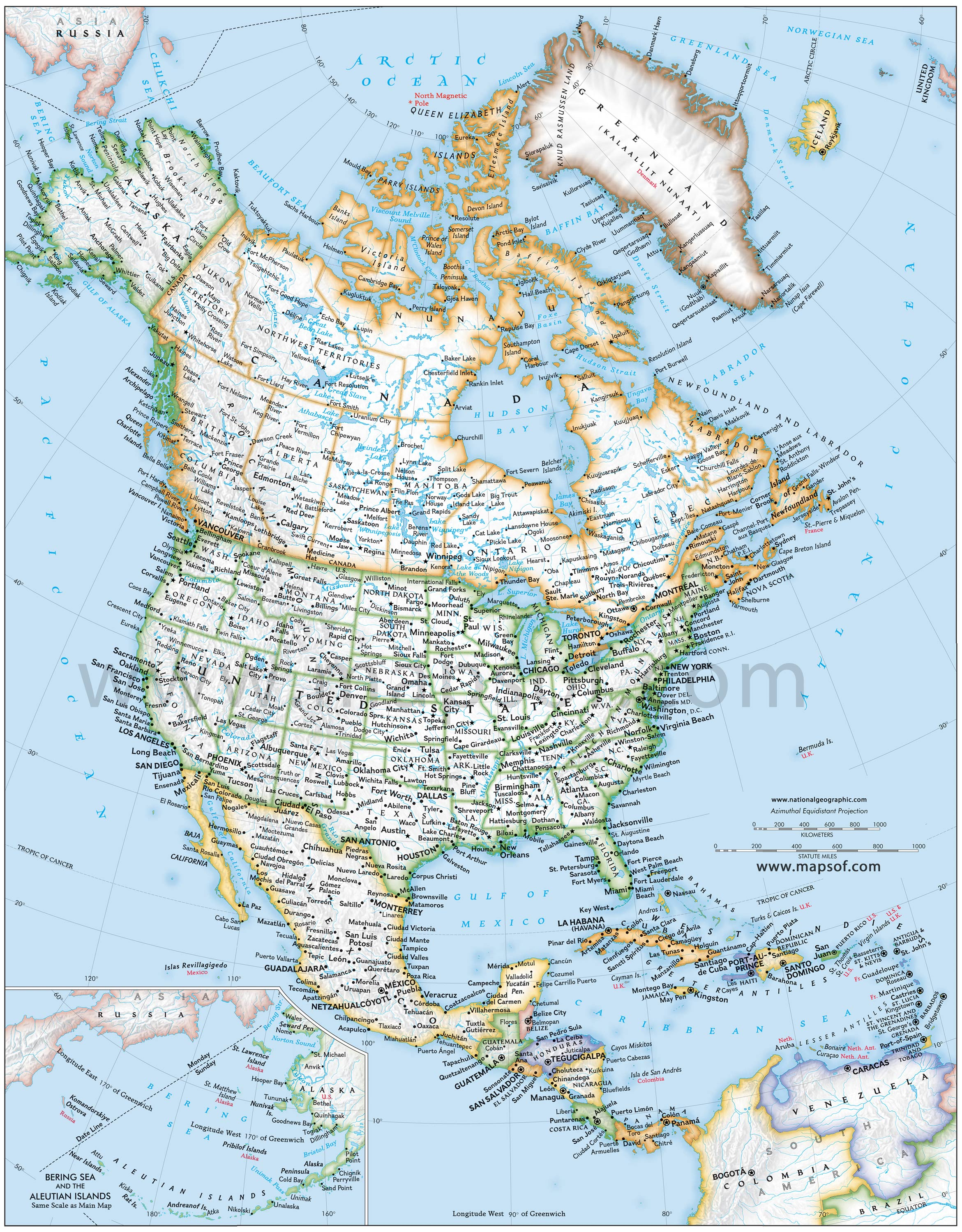 North America Political Map Mapsofnet - Maps of north america