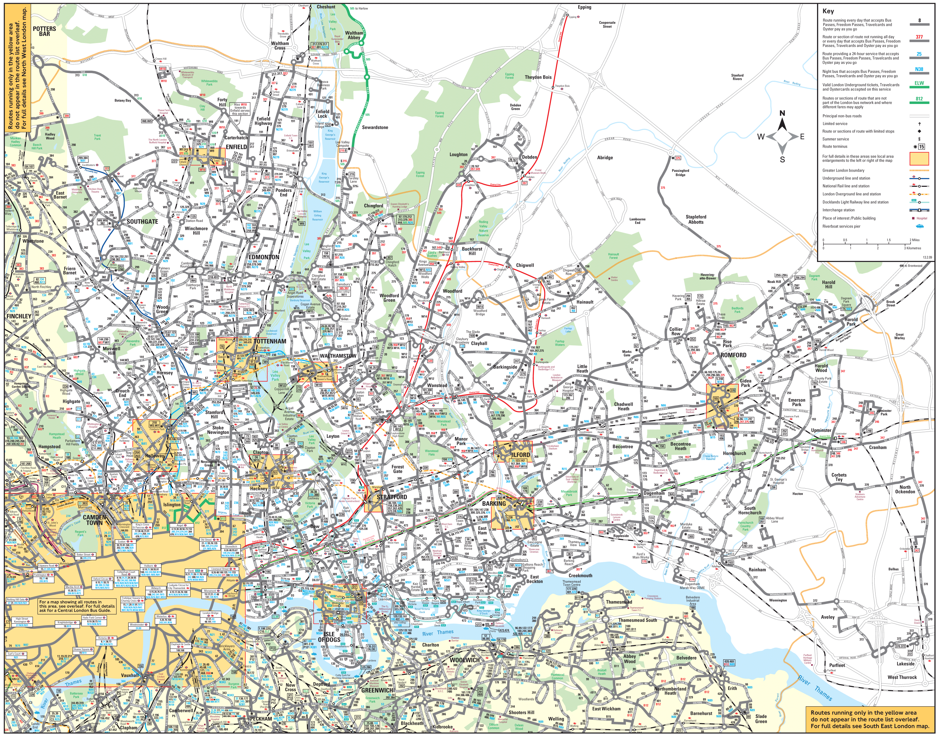 South West London Bus Map Mapsofnet - Map of north london areas