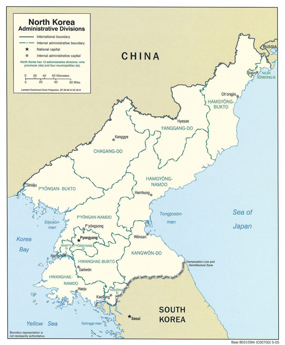 North Korea Administrative Divisions large map