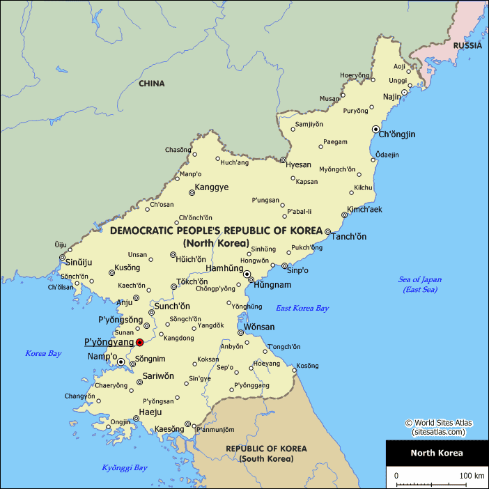 North Korea Cities Map large map