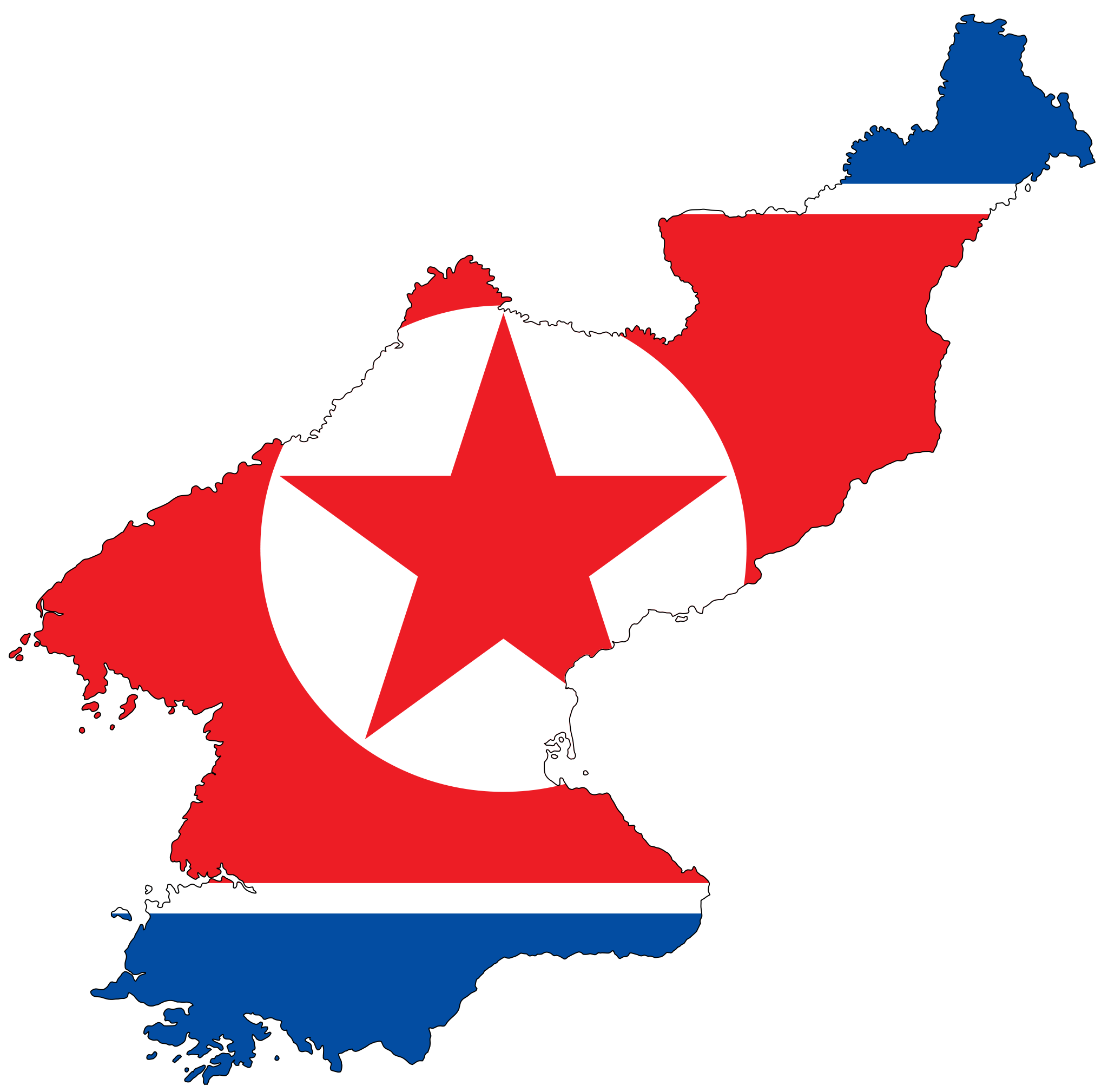 North Korea Flag Map large map