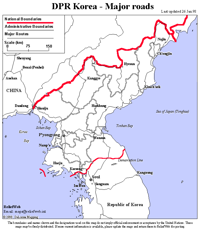 North Korea Major Roads large map