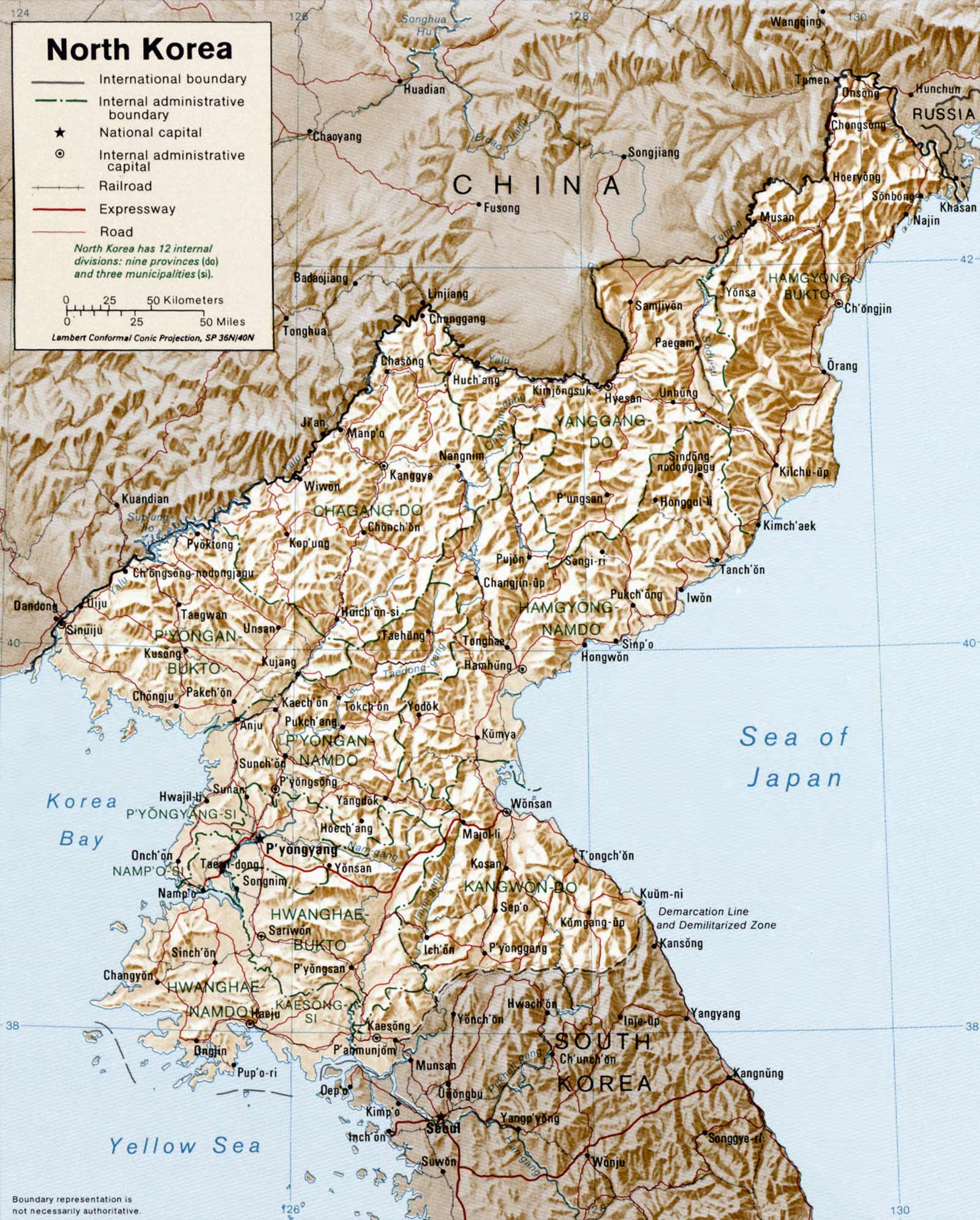 North Korea Physical Map large map