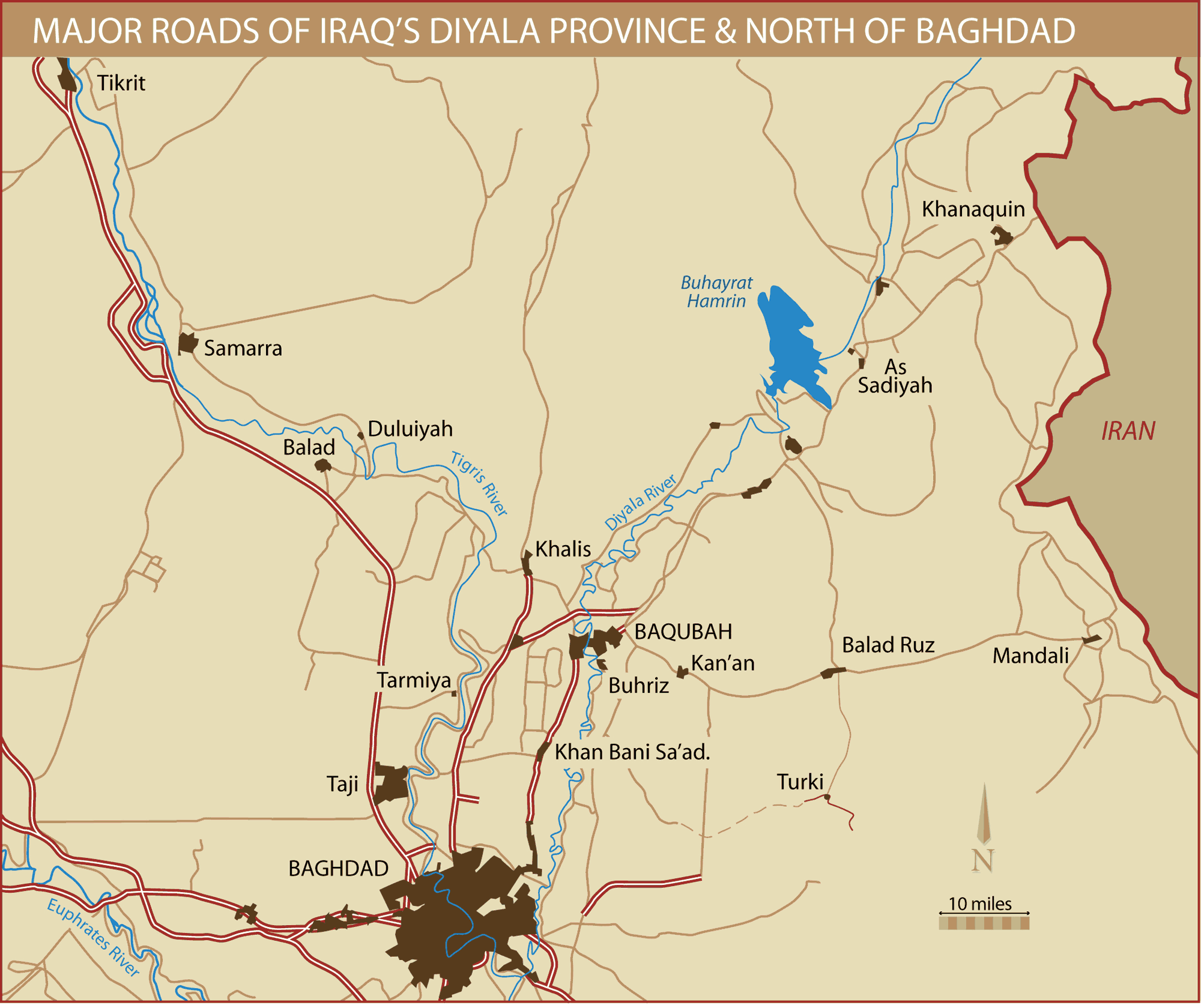 Northern Baghdad And Diyala Province Roads large map