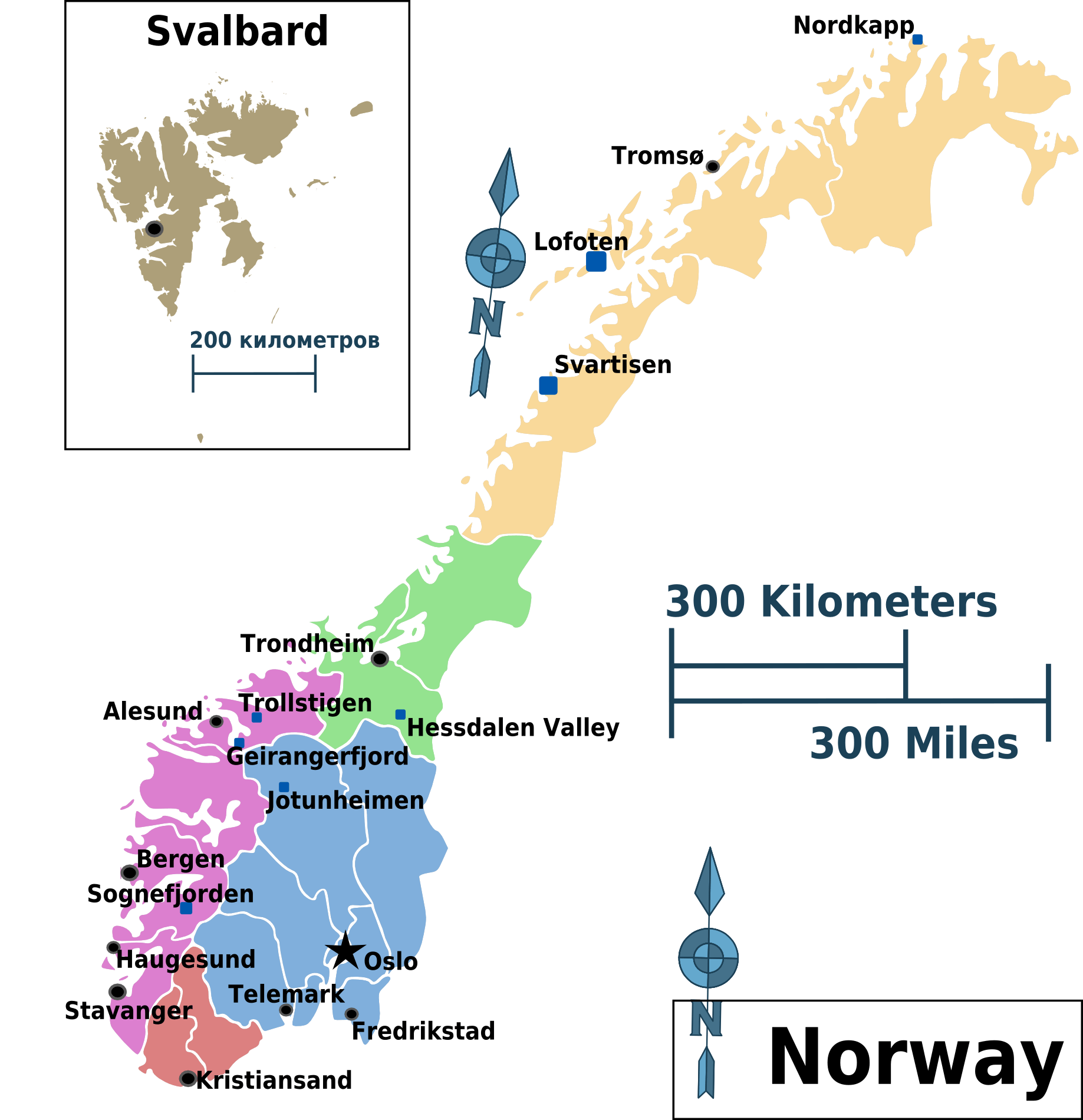 Norway Regions Map large map