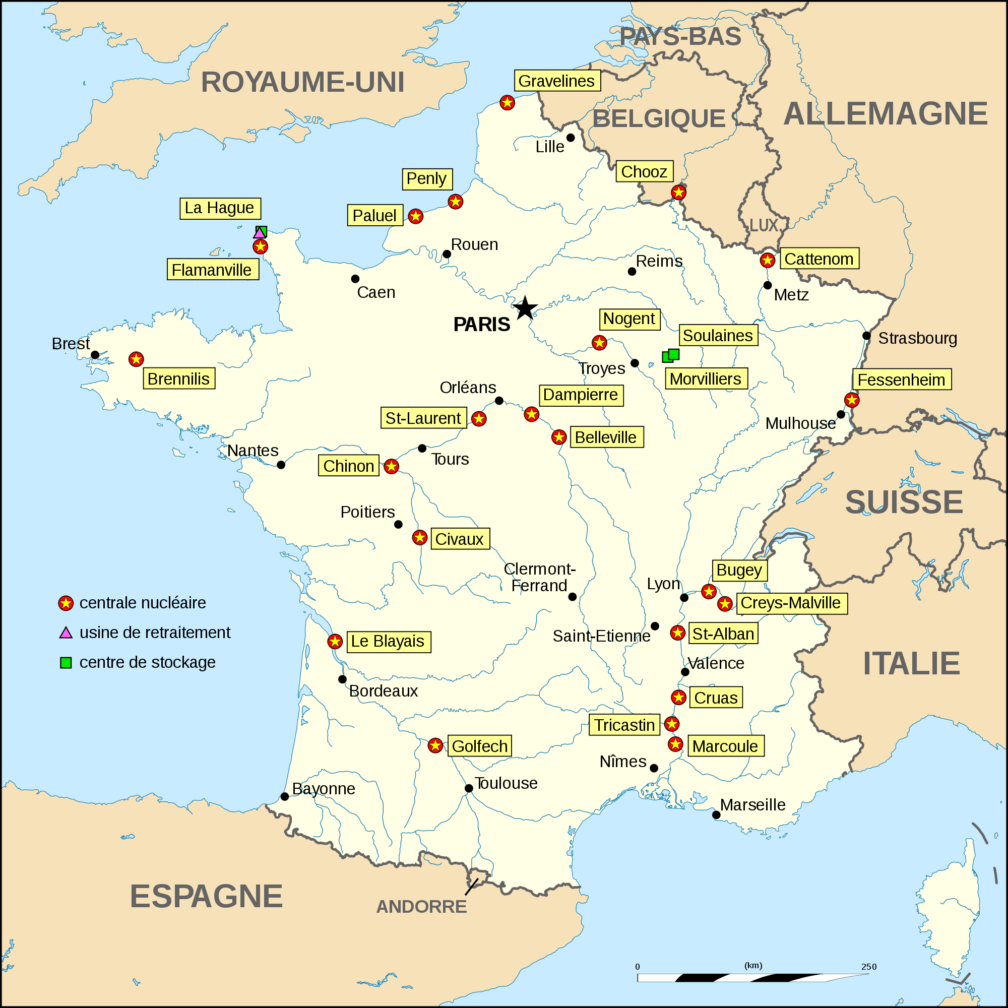 Nuclear Power Plants Map France large map