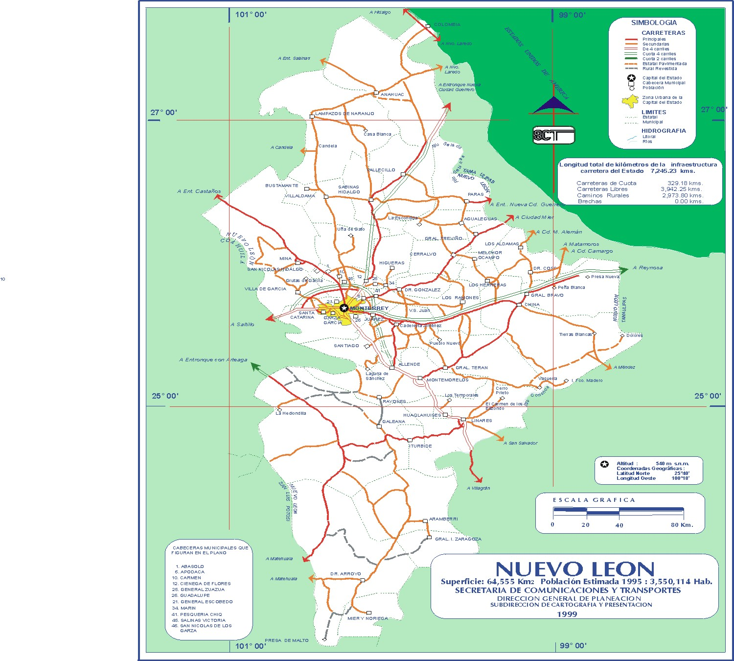 Nuevo Leon Mexico Road Map large map