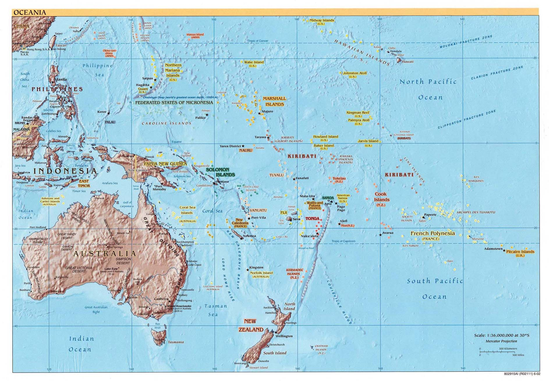 Oceania Physical Map large map