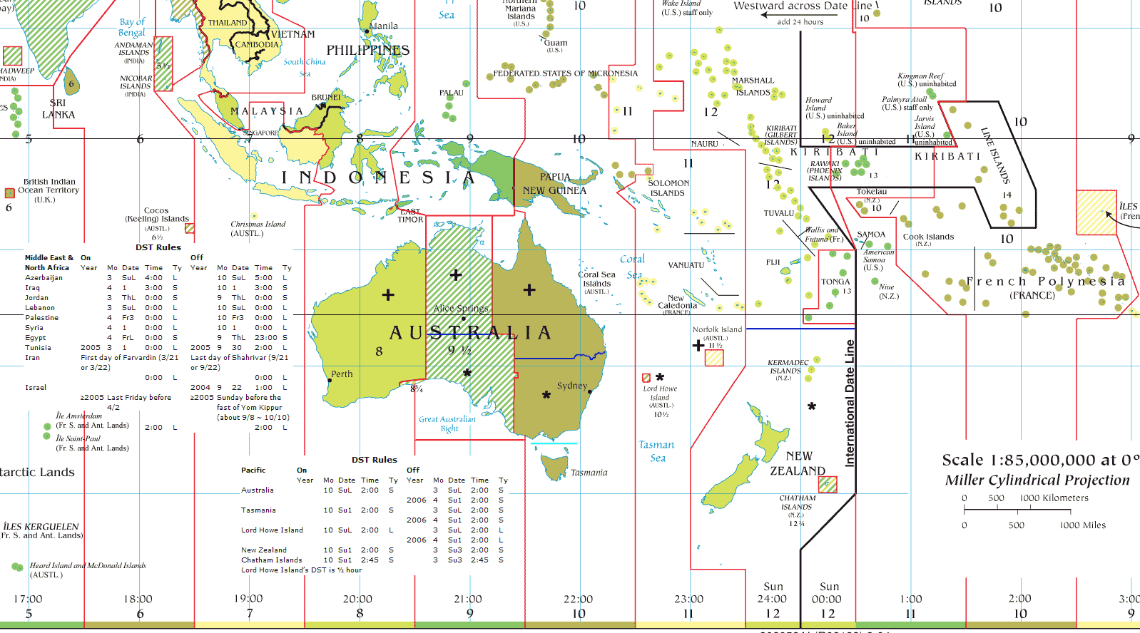 Oceania Time Zones large map