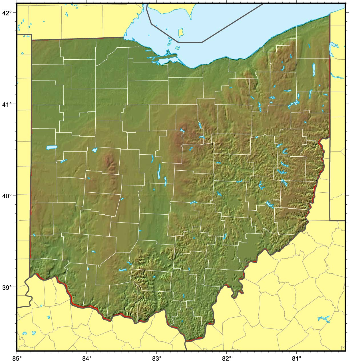 Ohio Relief Map Mapsofnet - Map ohio