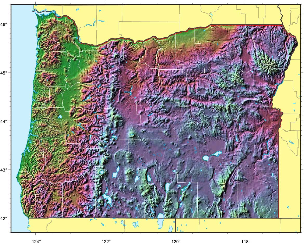 Oregon Relief Map large map